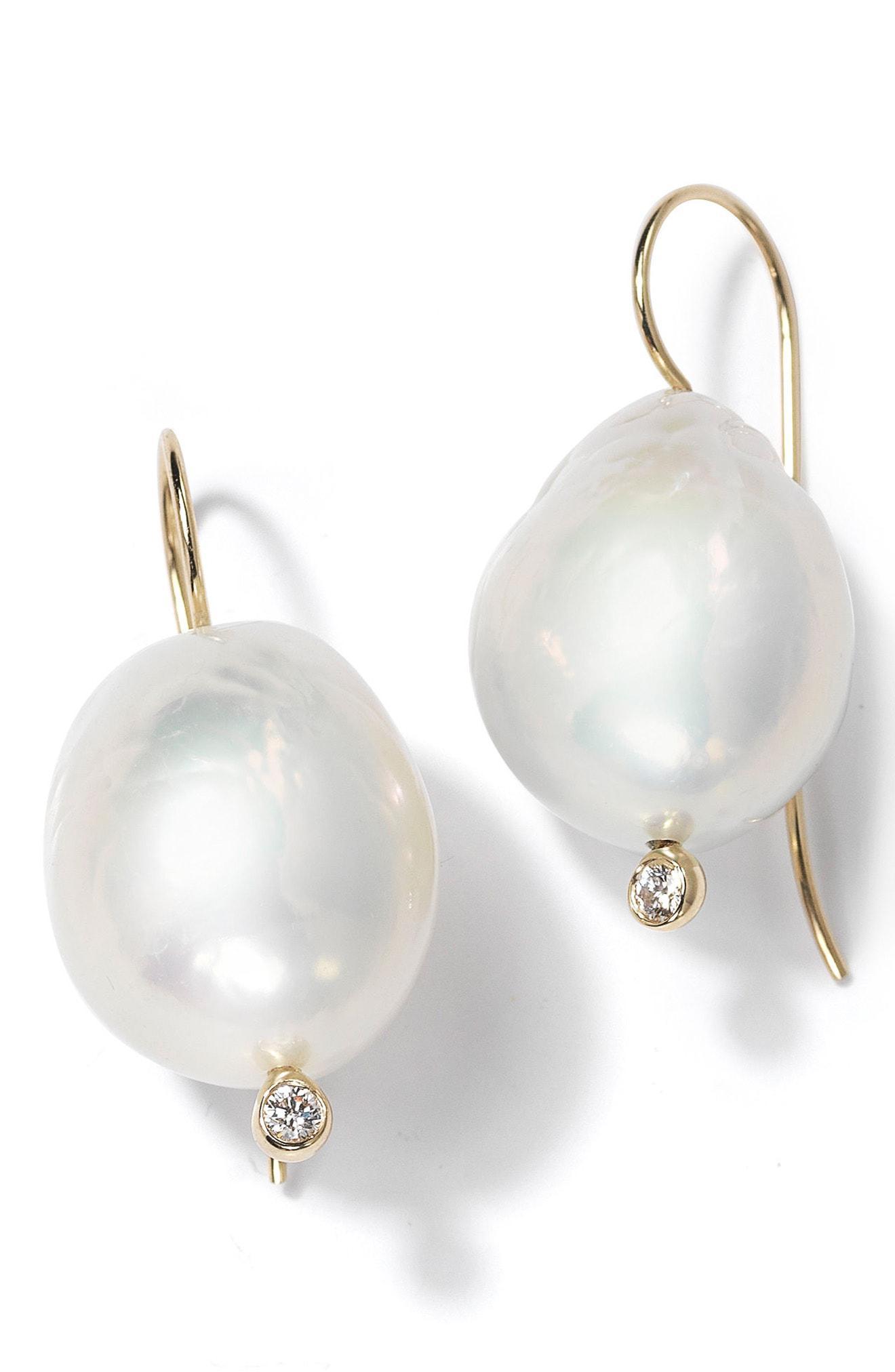 Mizuki Women S White Large Baroque Pearl Drop Earrings