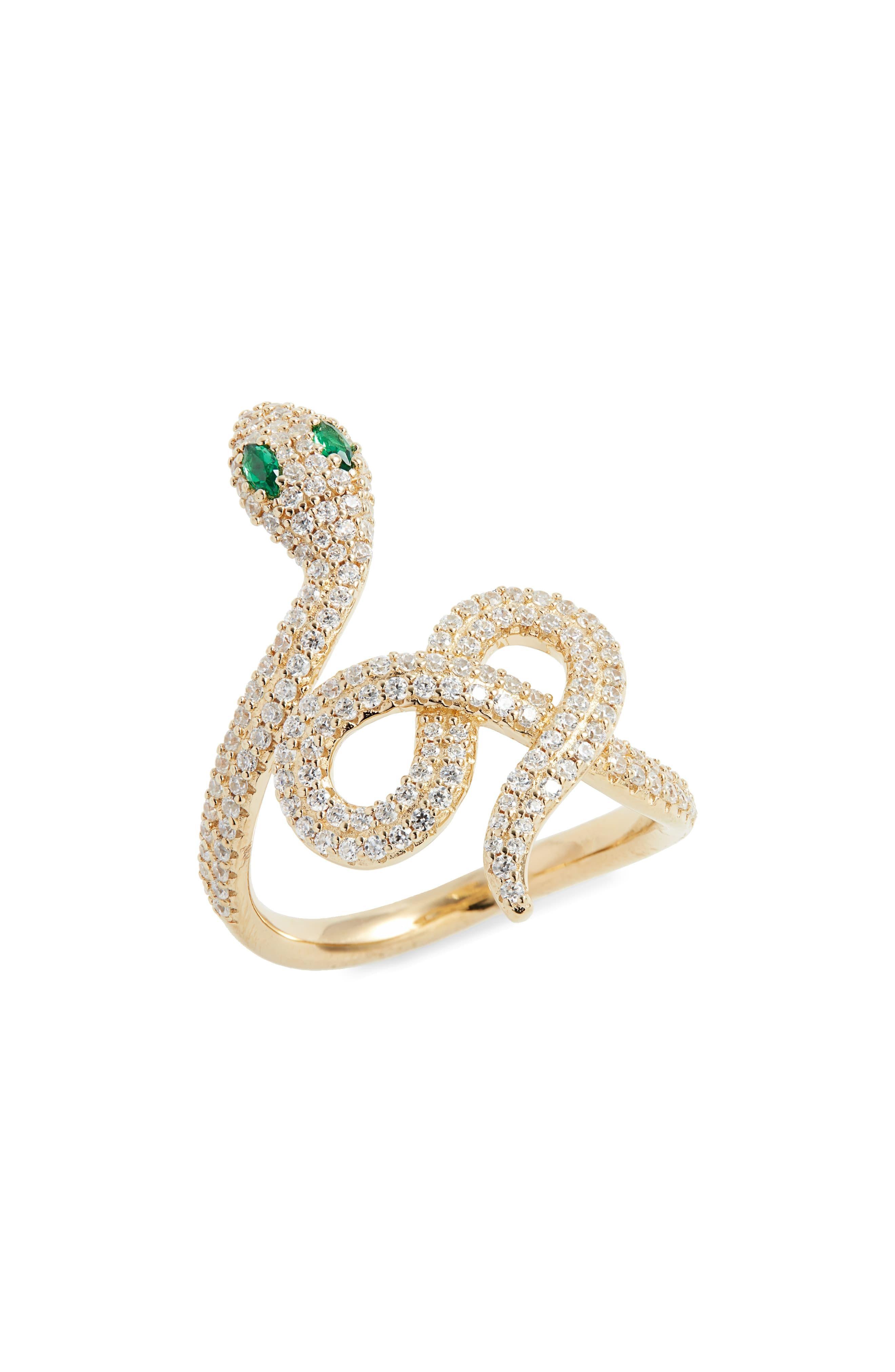Monaco Luxury Ring EGYPTIAN TRIBUTE Snake Green S925 Cubic Zirconia