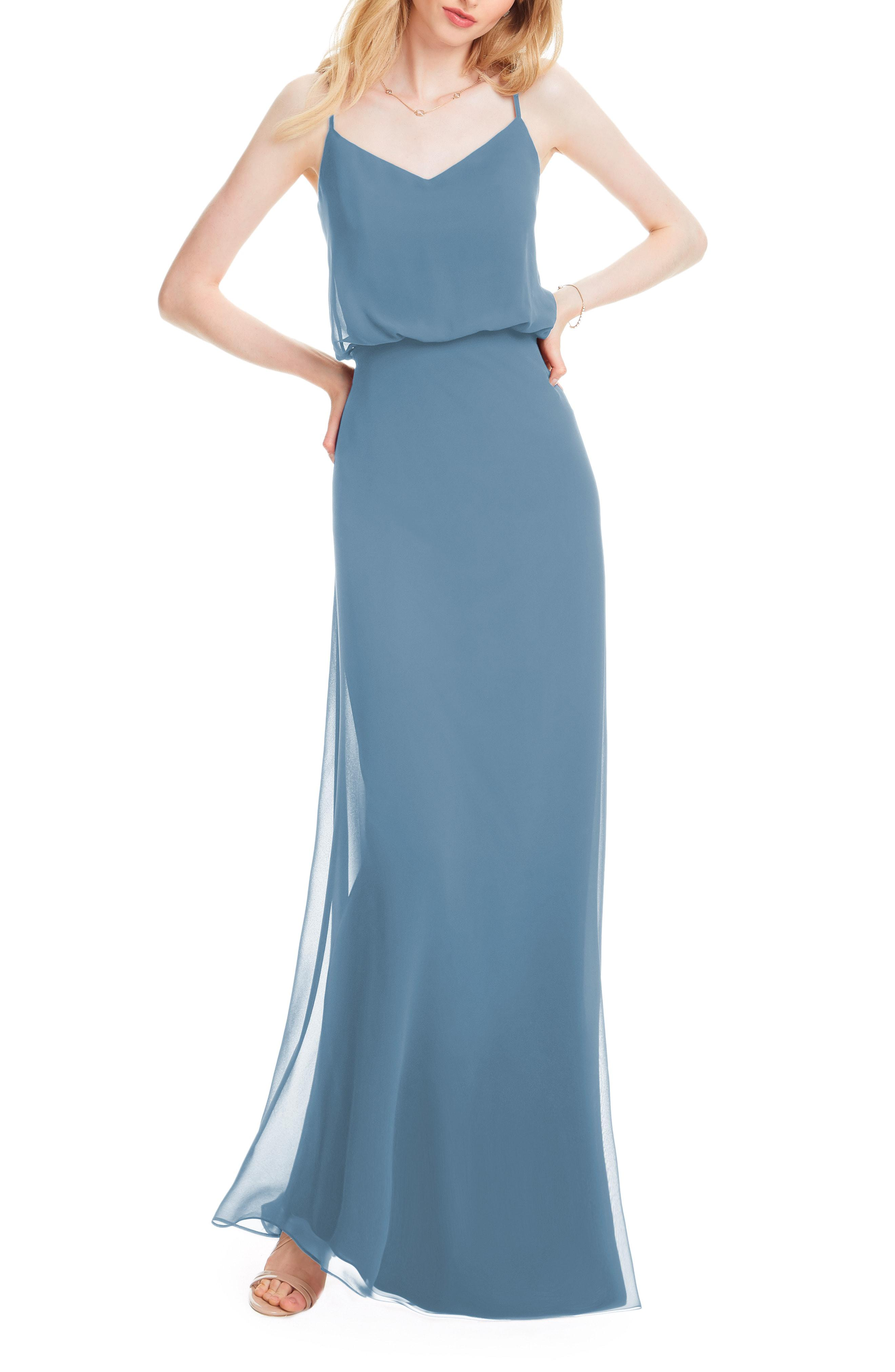 05e47531a0 Bill Levkoff. Women s Blue   Spaghetti Strap Chiffon Gown