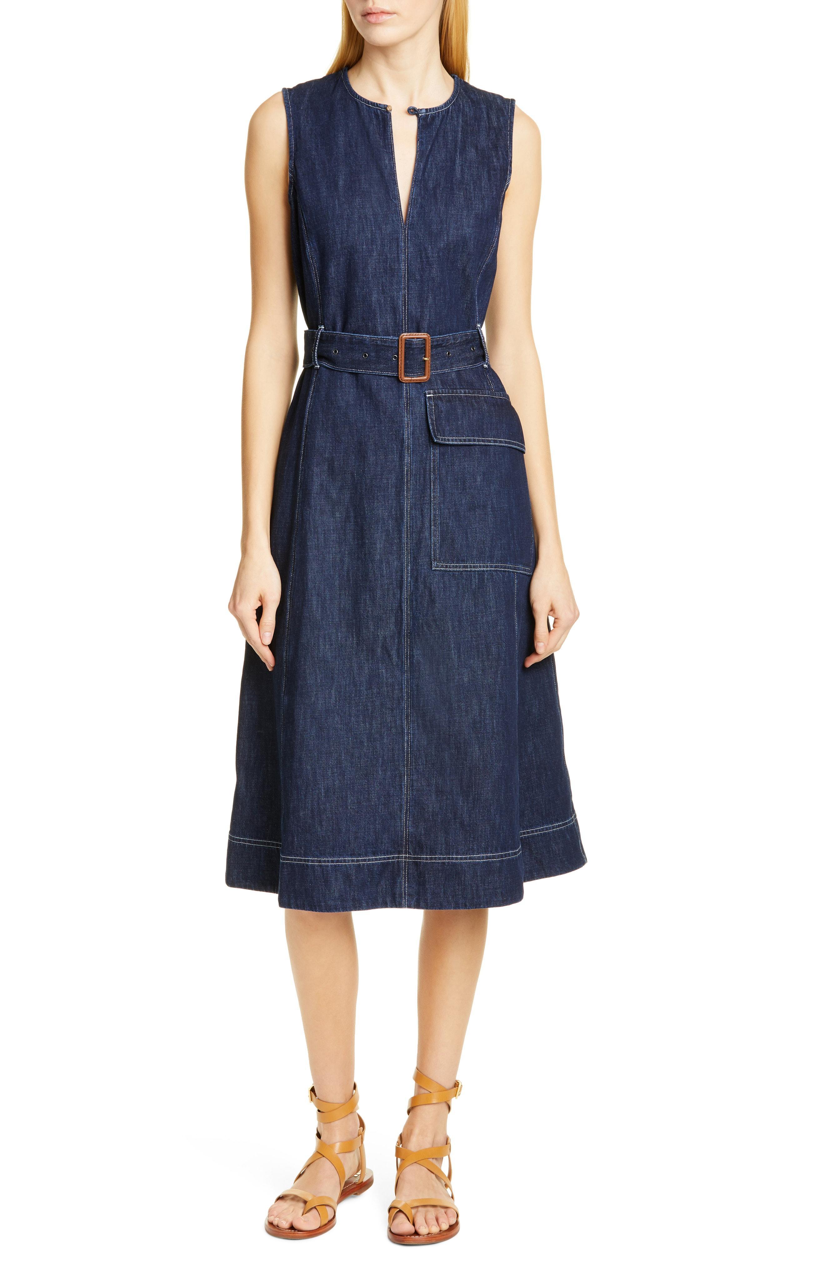 475a26bc5d Lyst - Polo Ralph Lauren Bevlry Denim Midi Dress in Blue
