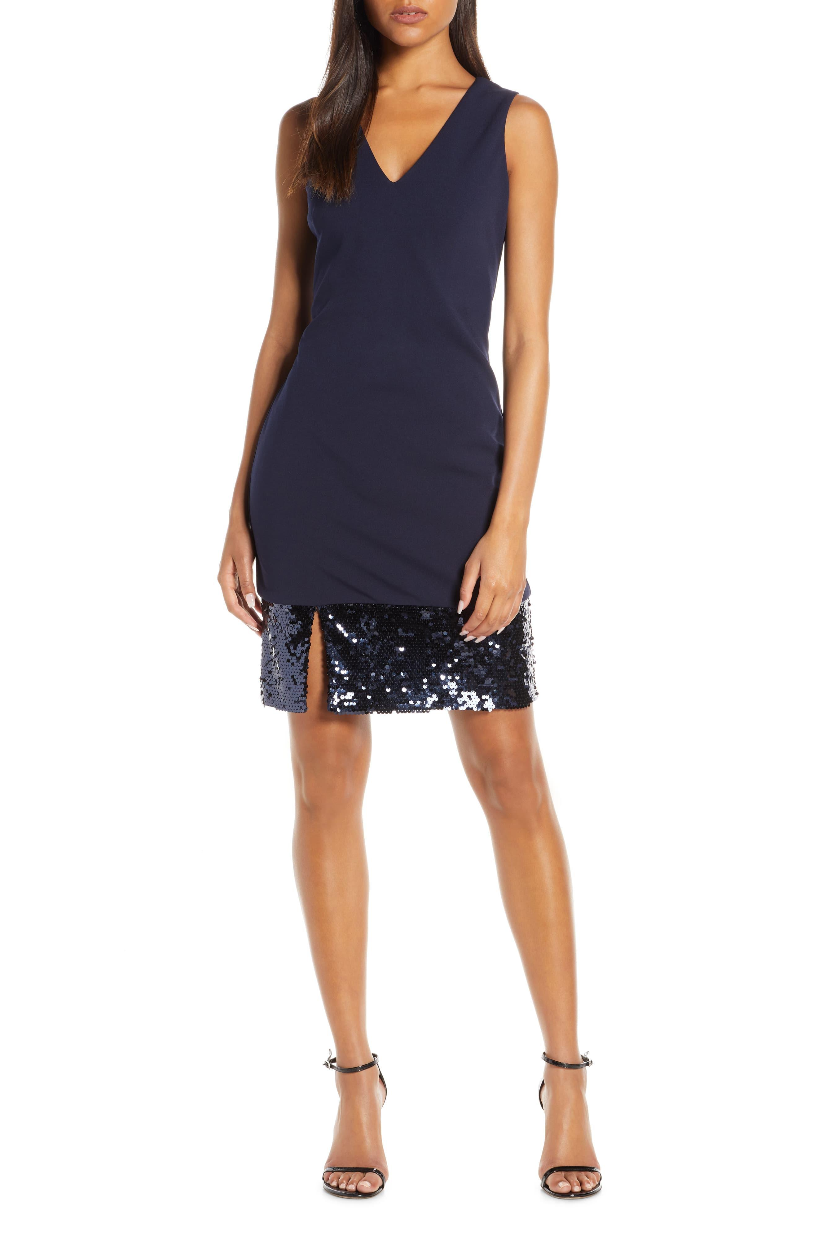 Vince Camuto Sequin Hem Cocktail Sheath Dress In Navy