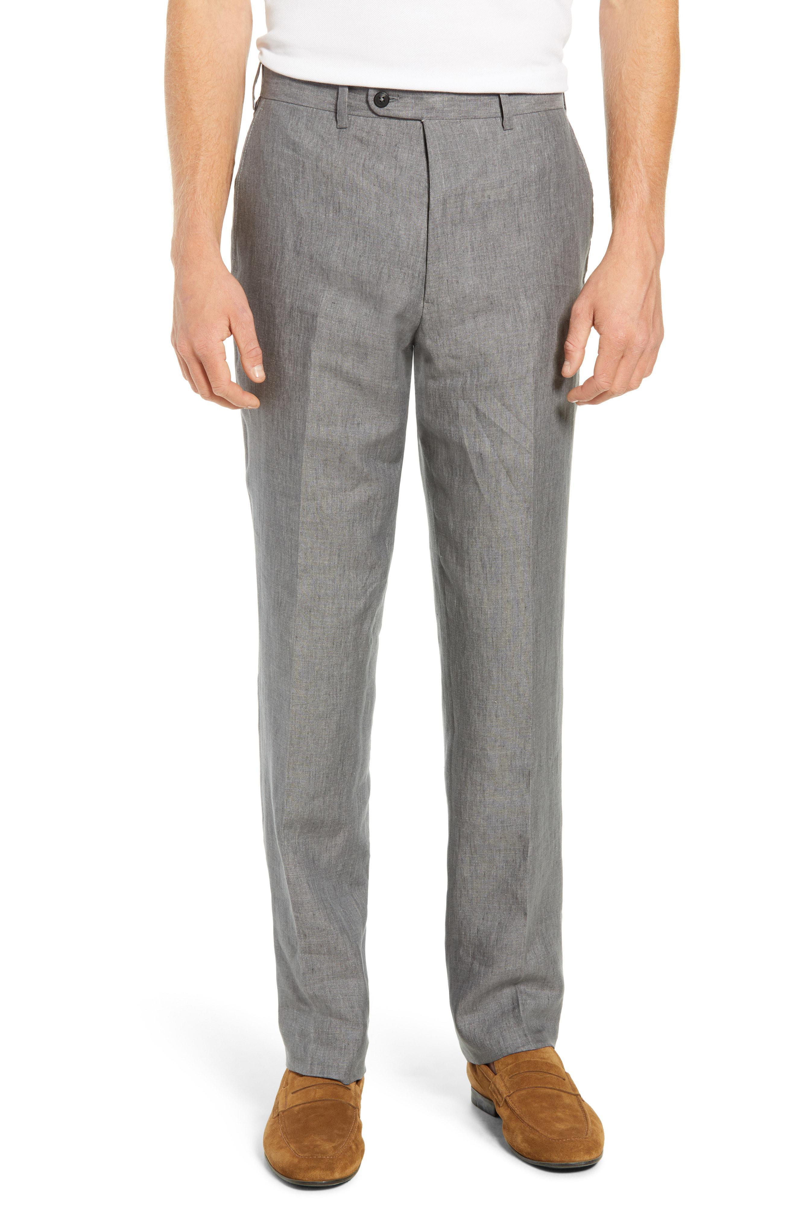 95d0e3a11d703 John W. Nordstrom. Men s Gray John W. Nordstrom Torino Flat Front Solid  Linen Trousers