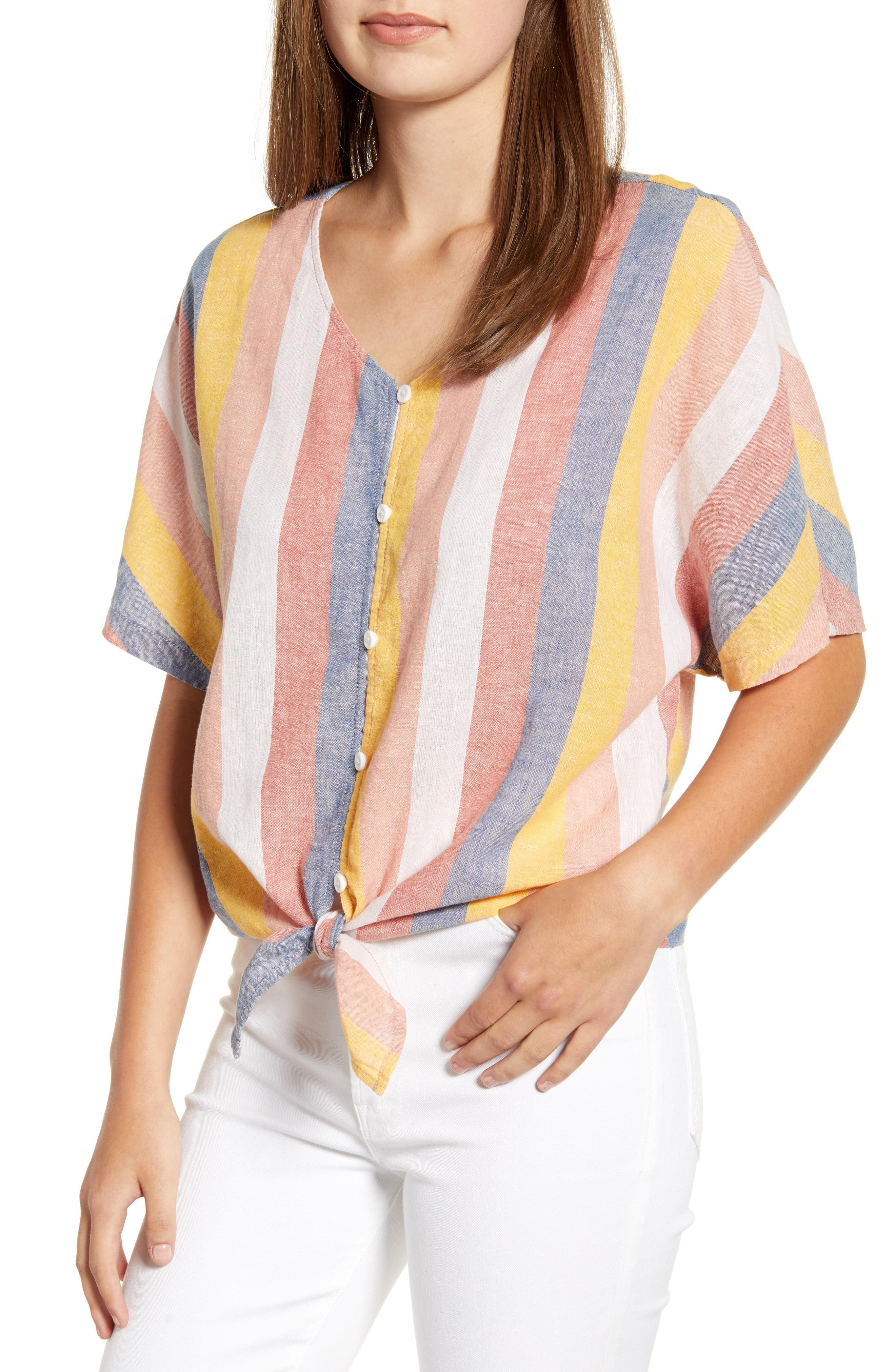 2ce0df3985 Beach Lunch Lounge. Women's Kelli Stripe Tie Front Linen & Cotton Blouse