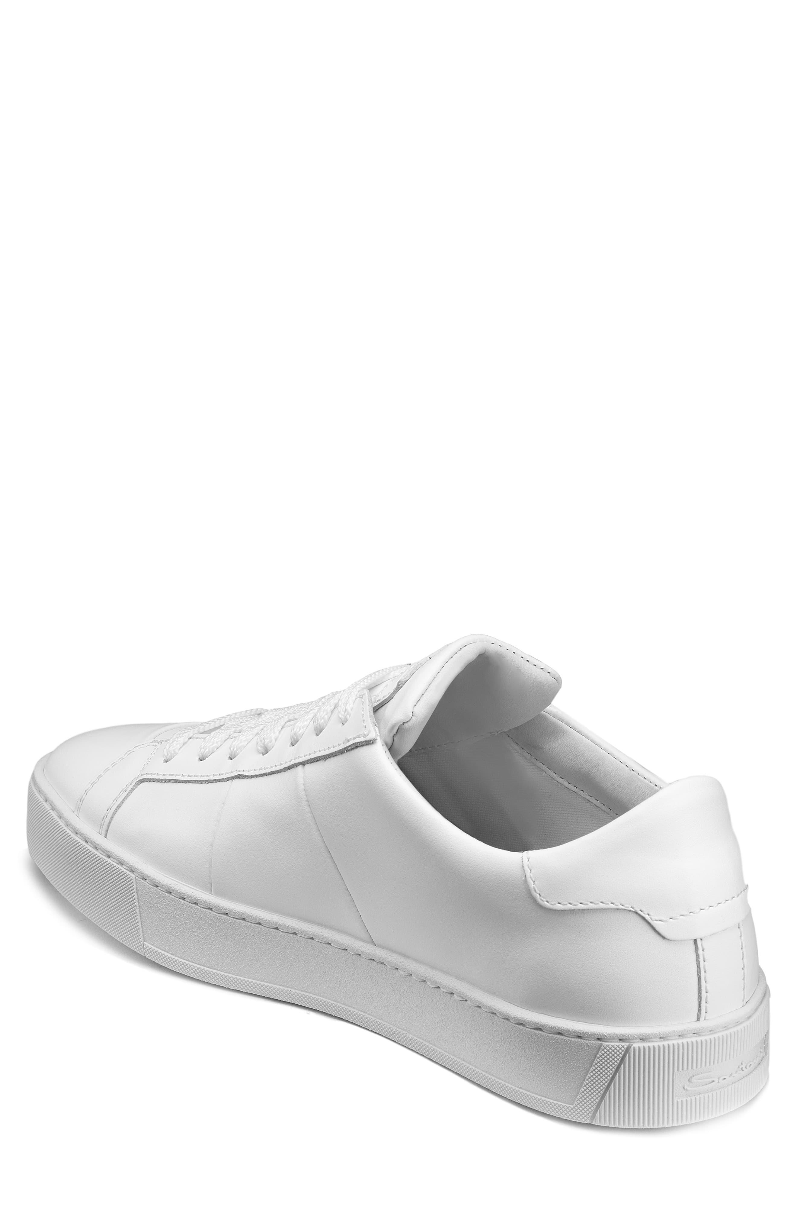 Santoni Leather Gloria Sneaker in White