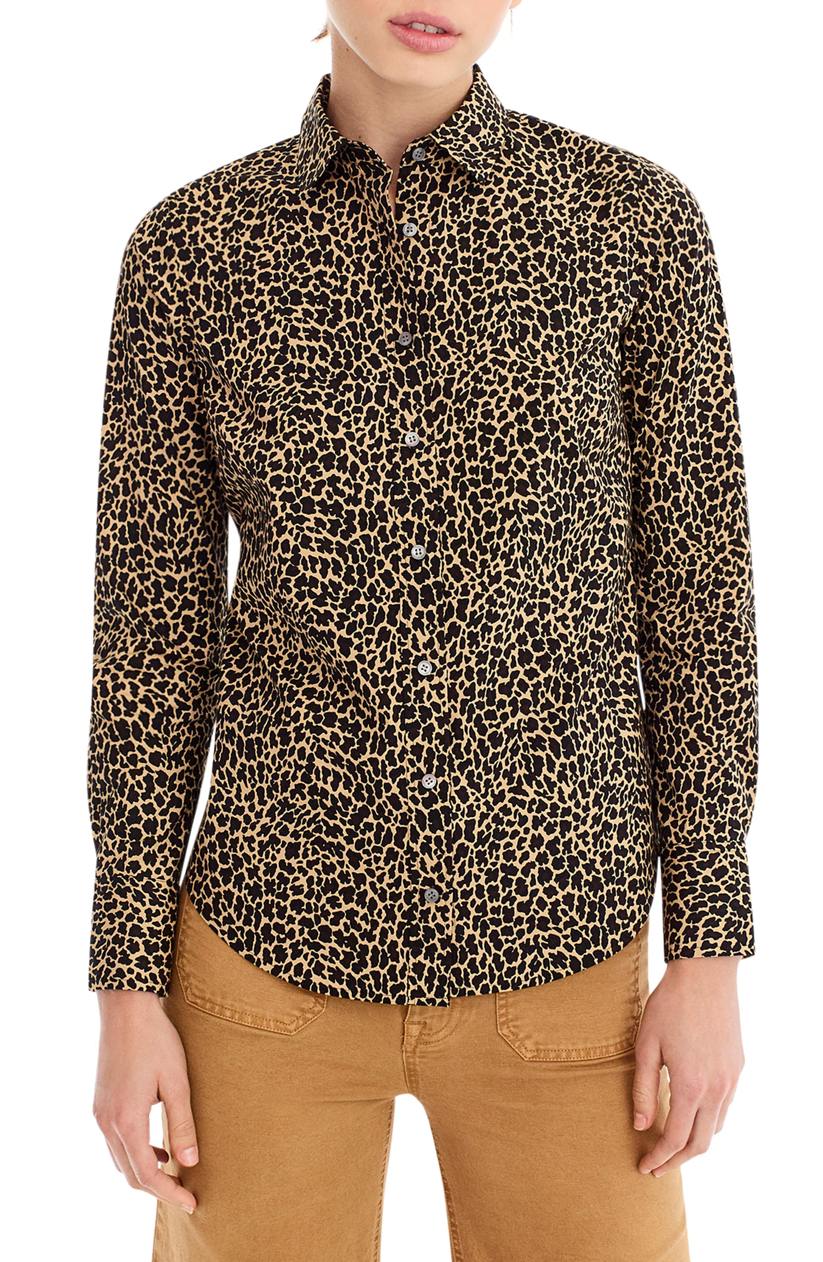 6cf20bc8c31 Lyst - J.Crew Leopard Print Slim Stretch Perfect Shirt in Brown ...