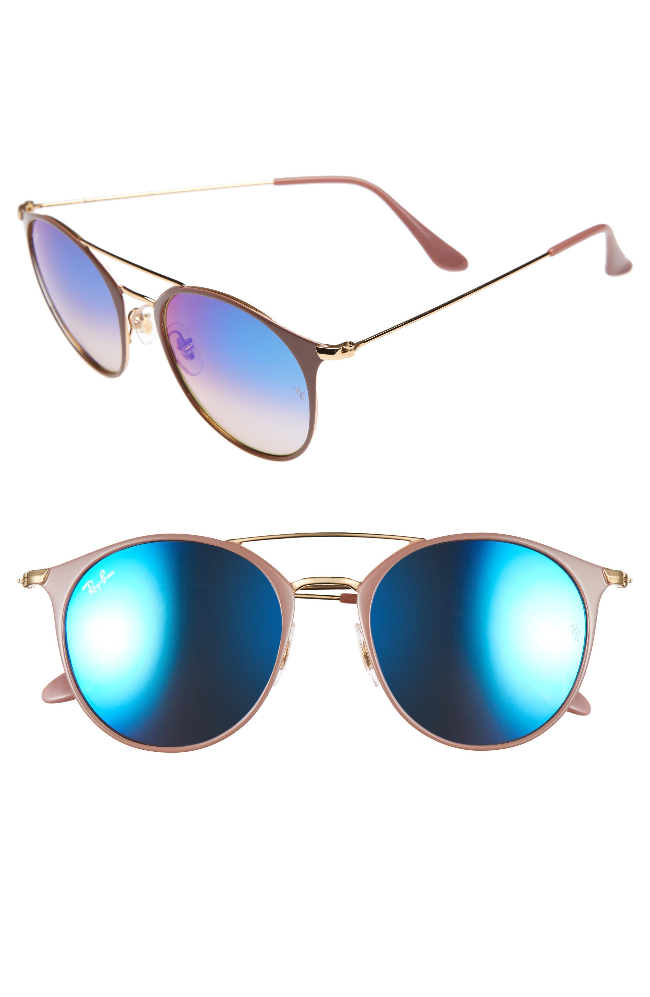 bf9bdab4cb2 Ray-Ban. Women s Blue Highstreet 52mm Aviator Sunglasses - Transparent Brown