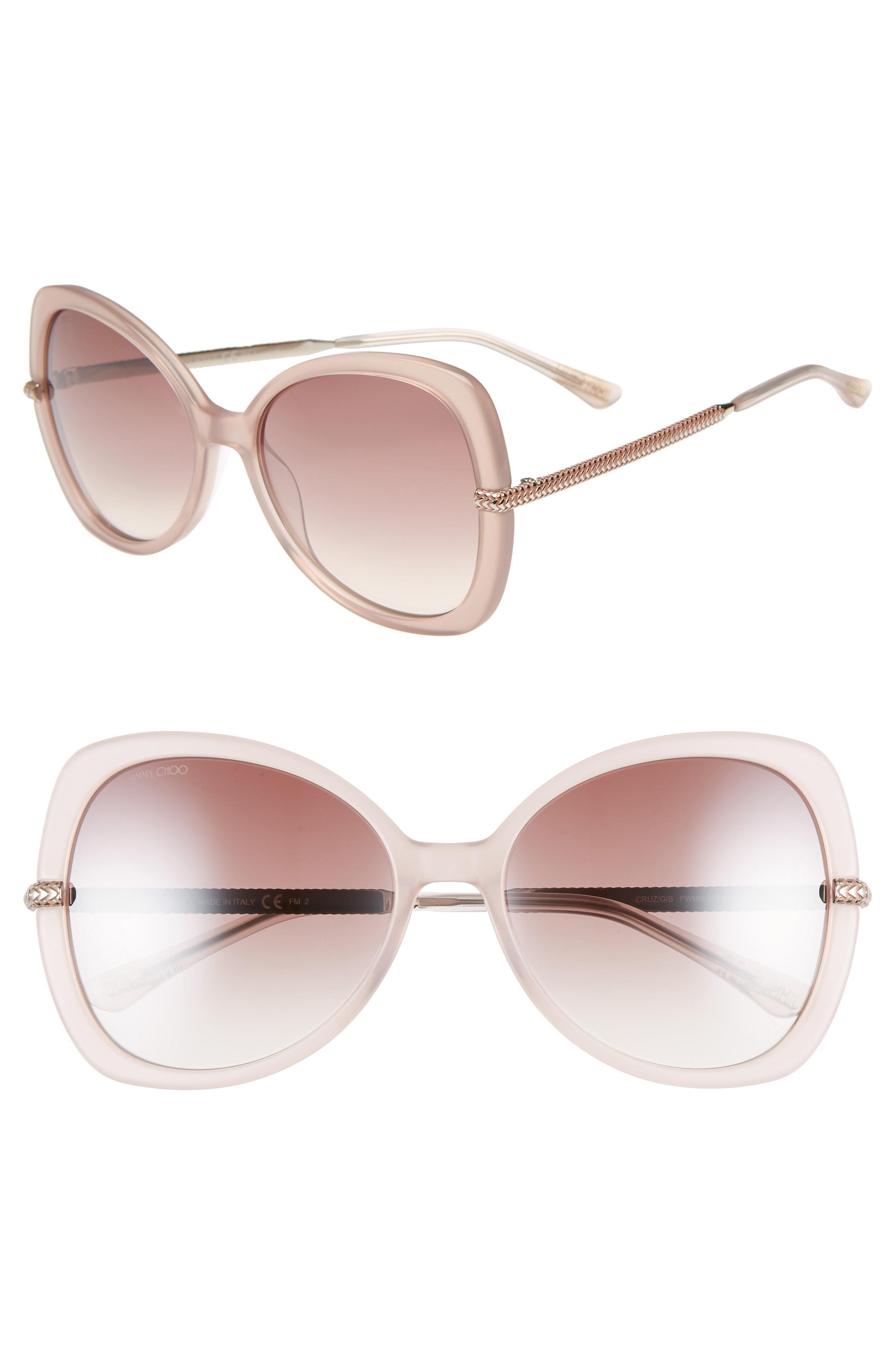 4e27ae9aa110 Jimmy Choo Cruz 58mm Butterfly Sunglasses - Nude - Lyst