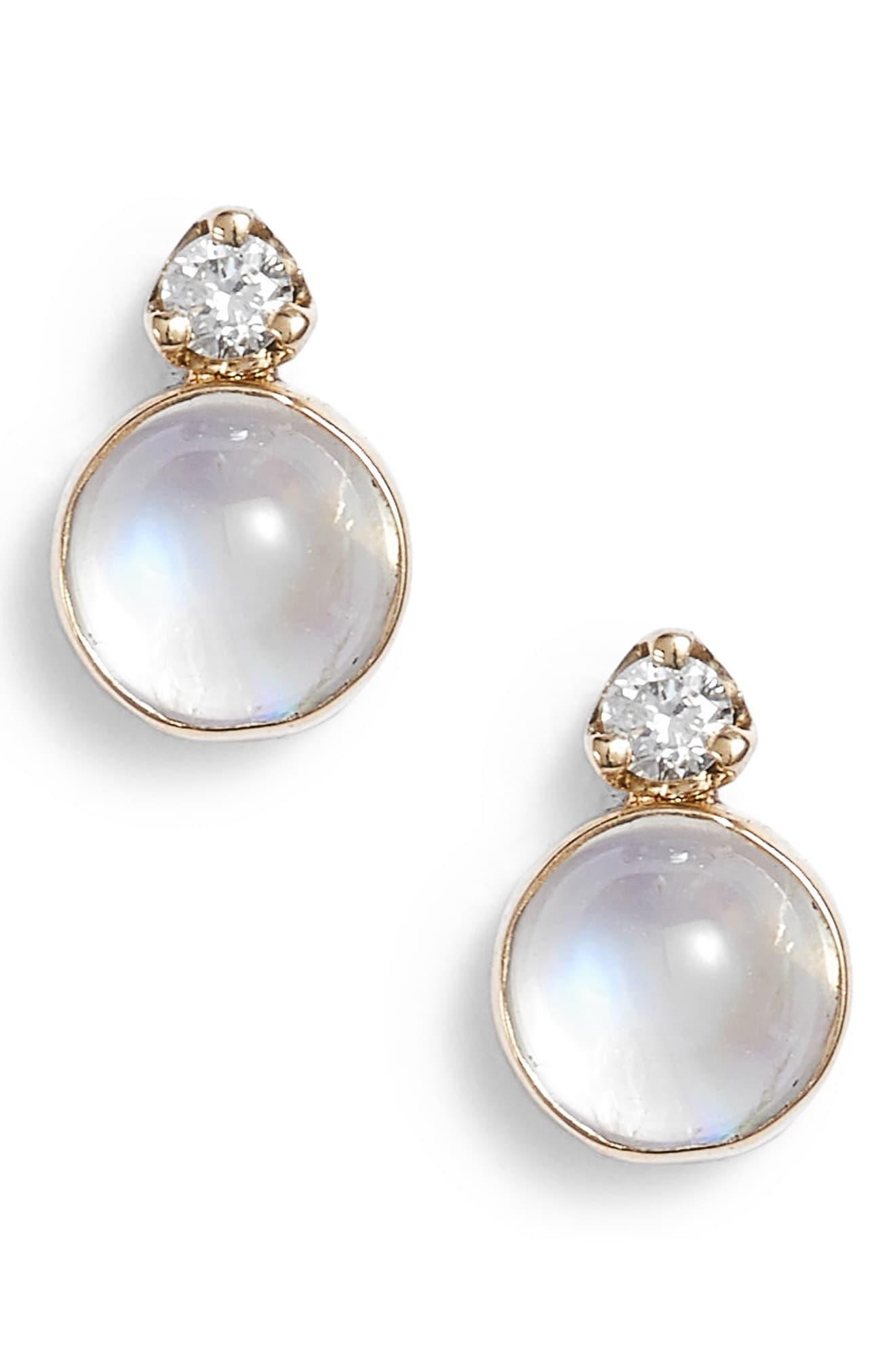 bc60b736d7f0e Women's Metallic Moonstone & Diamond Stud Earrings