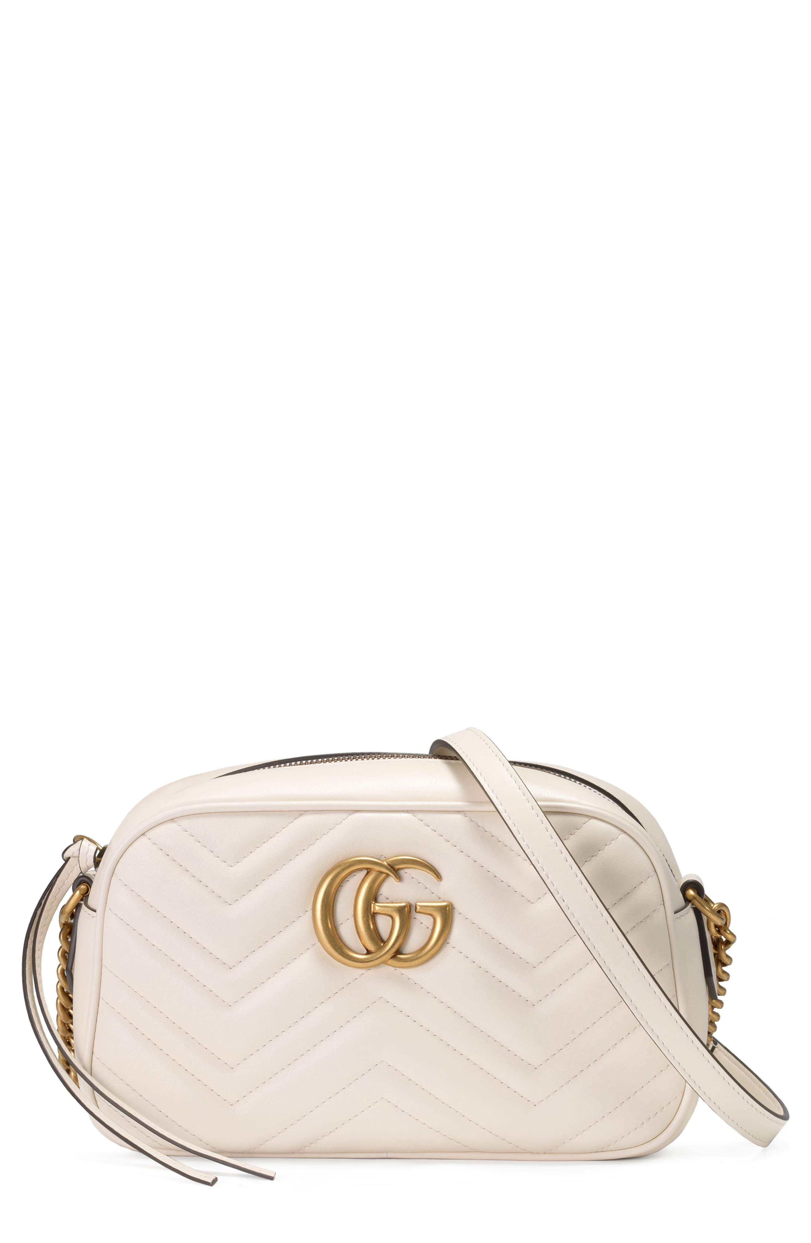 ccaa3ae4a92b Gucci Small Gg Marmont 2.0 Matelassé Leather Camera Bag in White - Lyst