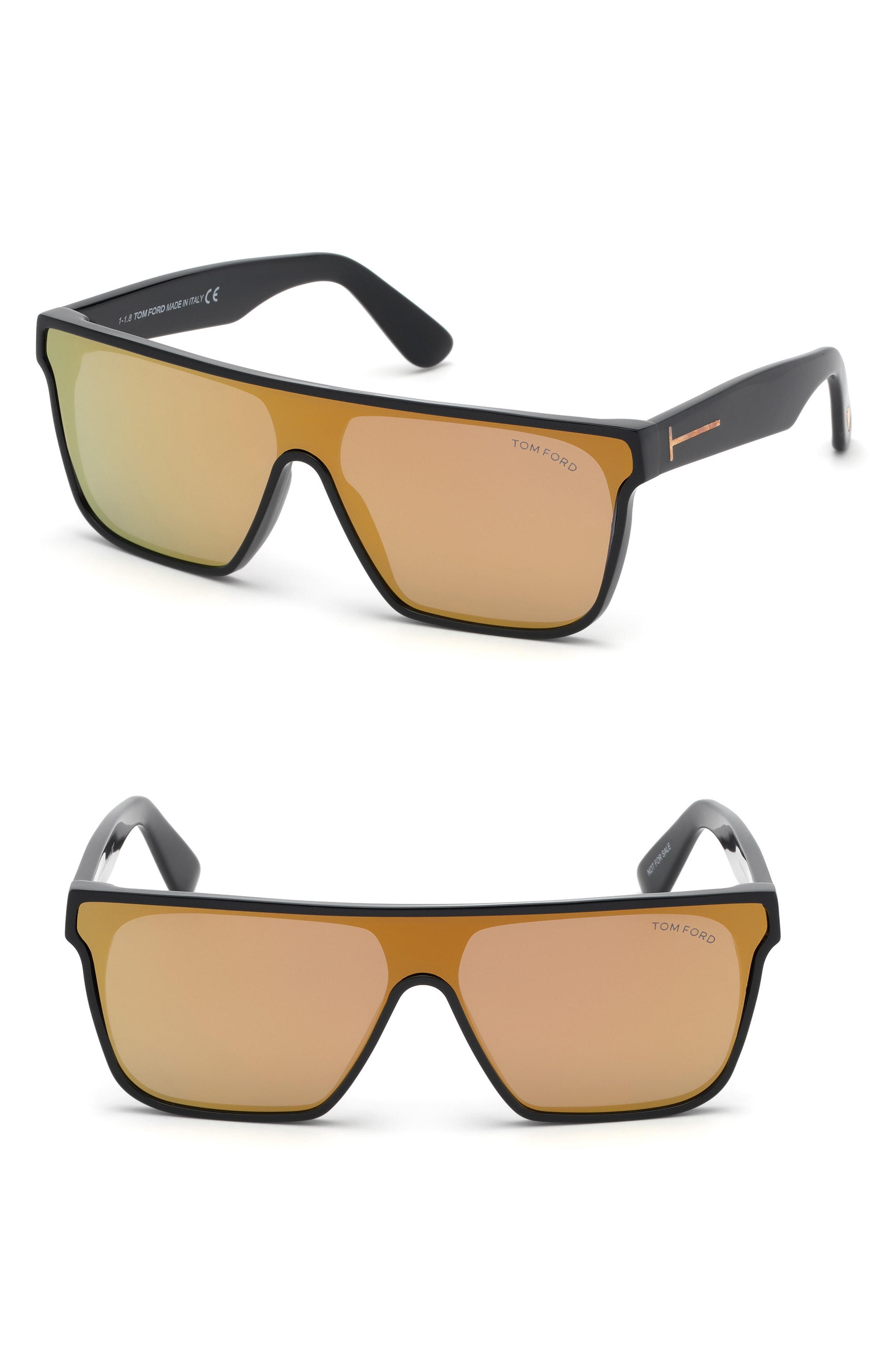 c53ac922867 Tom Ford - 140mm Shield Sunglasses - Shiny Black  Smoke for Men - Lyst.  View fullscreen