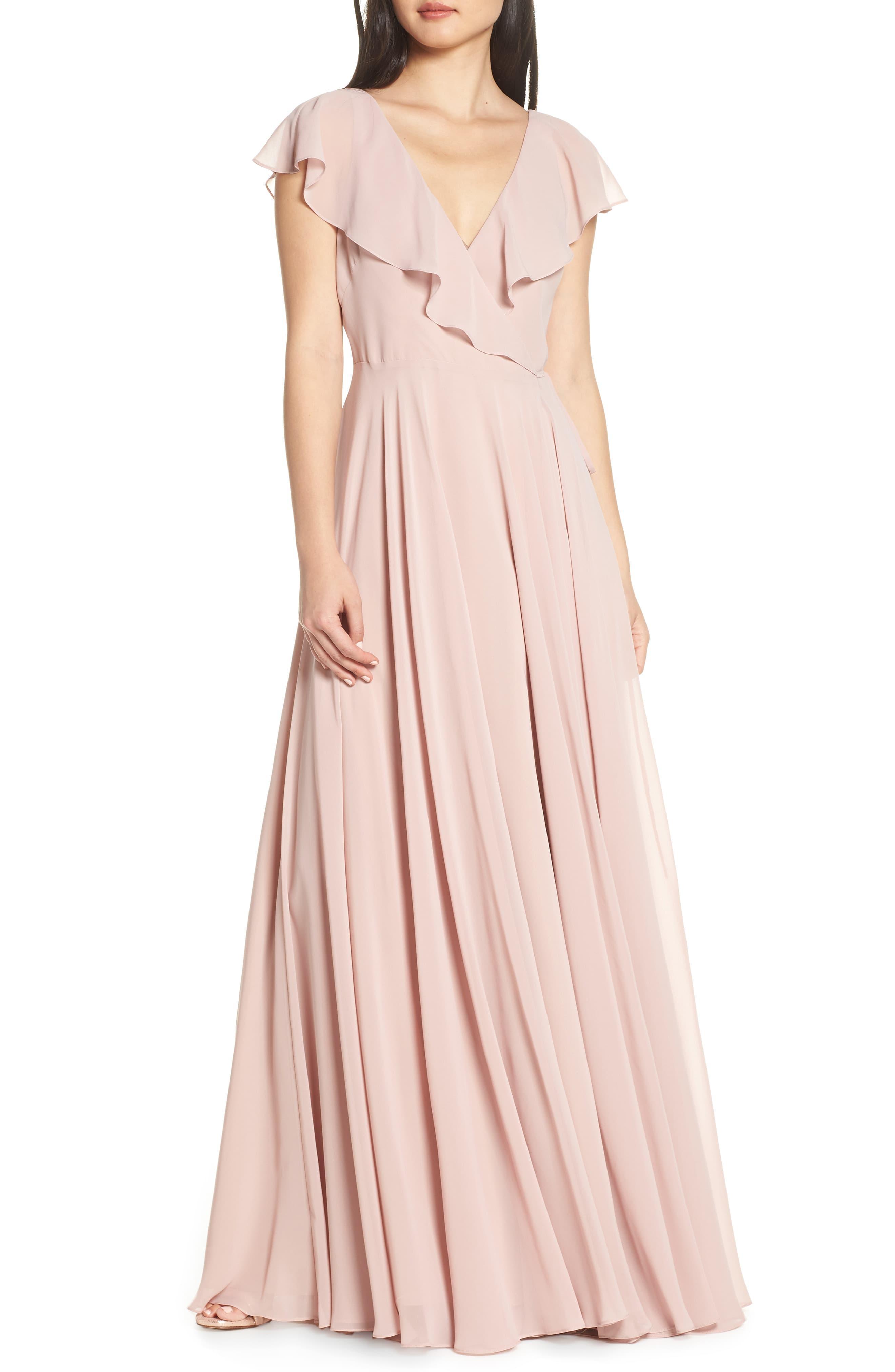 0097dc16a8a4d Jenny Yoo Faye Ruffle Wrap Chiffon Evening Dress in Pink - Lyst