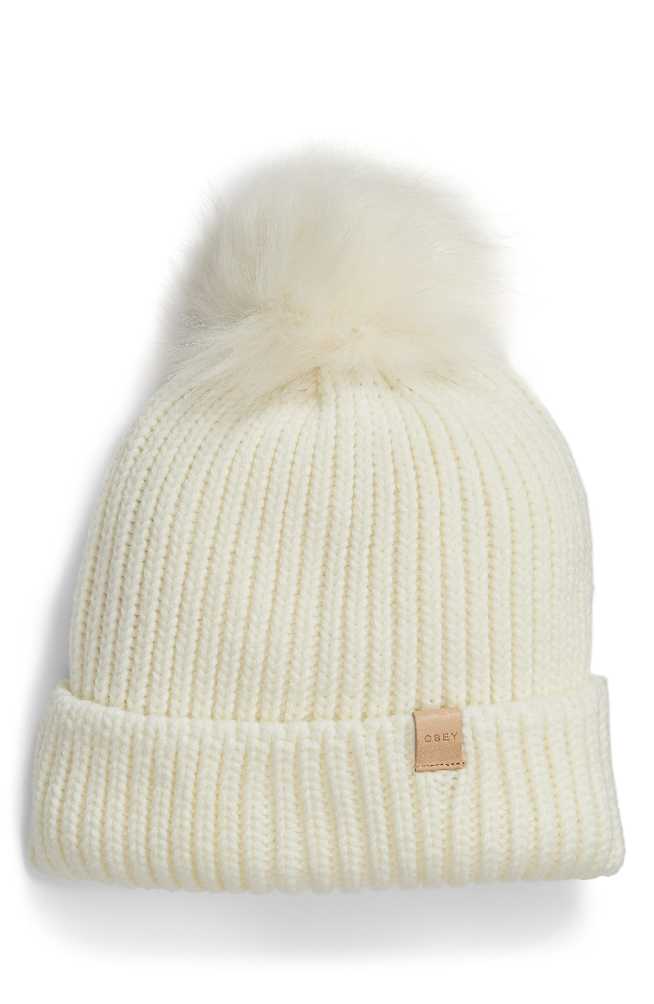 66ec71d88ae Lyst - Obey Humboldt Faux Fur Pompom Beanie - in Natural