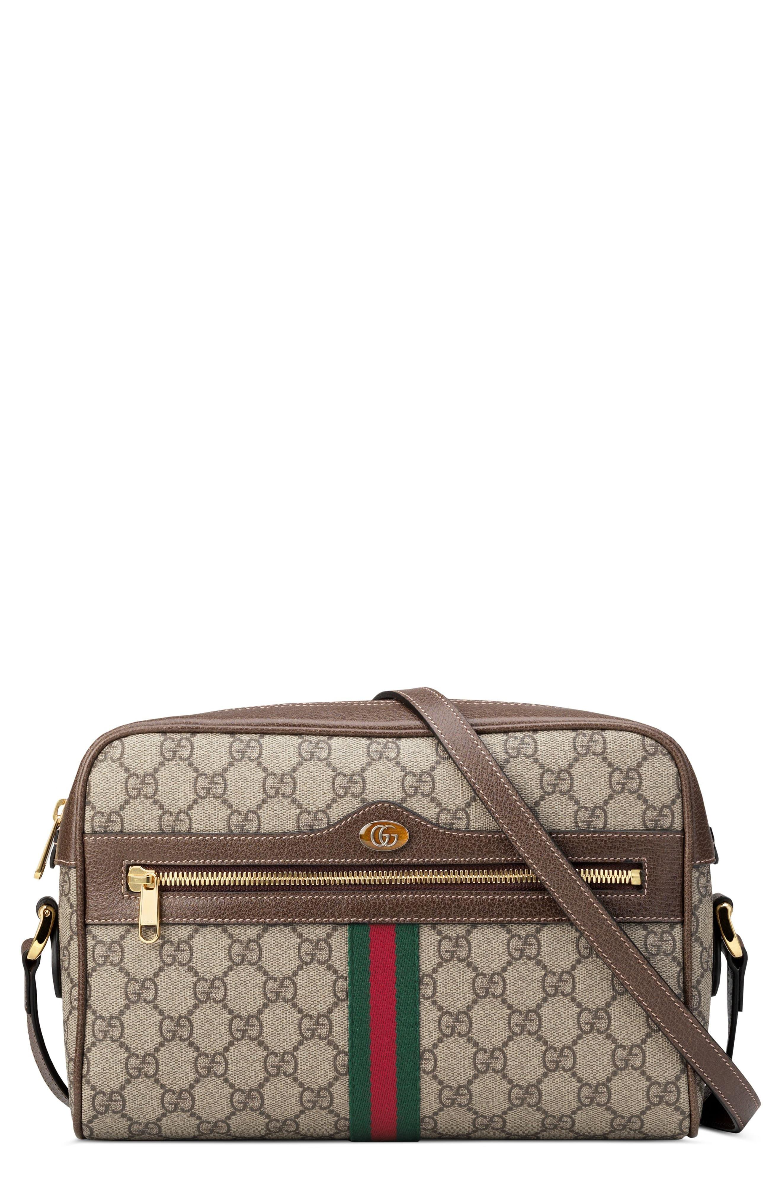 Gucci Ophidia Gg Supreme Canvas Crossbody Bag in Natural - Lyst
