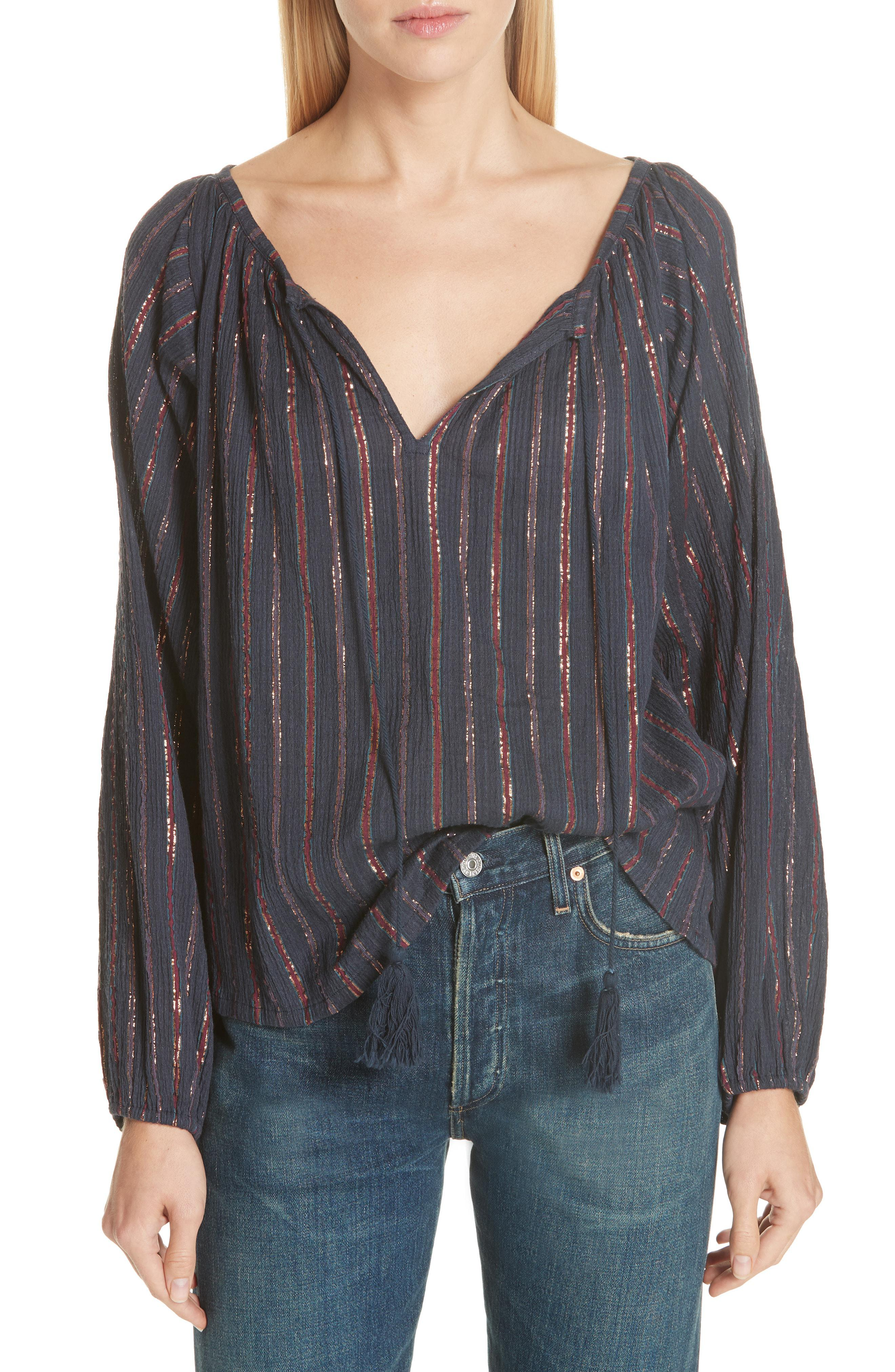 660b61c65e52c Lyst - Mes Demoiselles Elize Lyrical Peasant Blouse in Blue