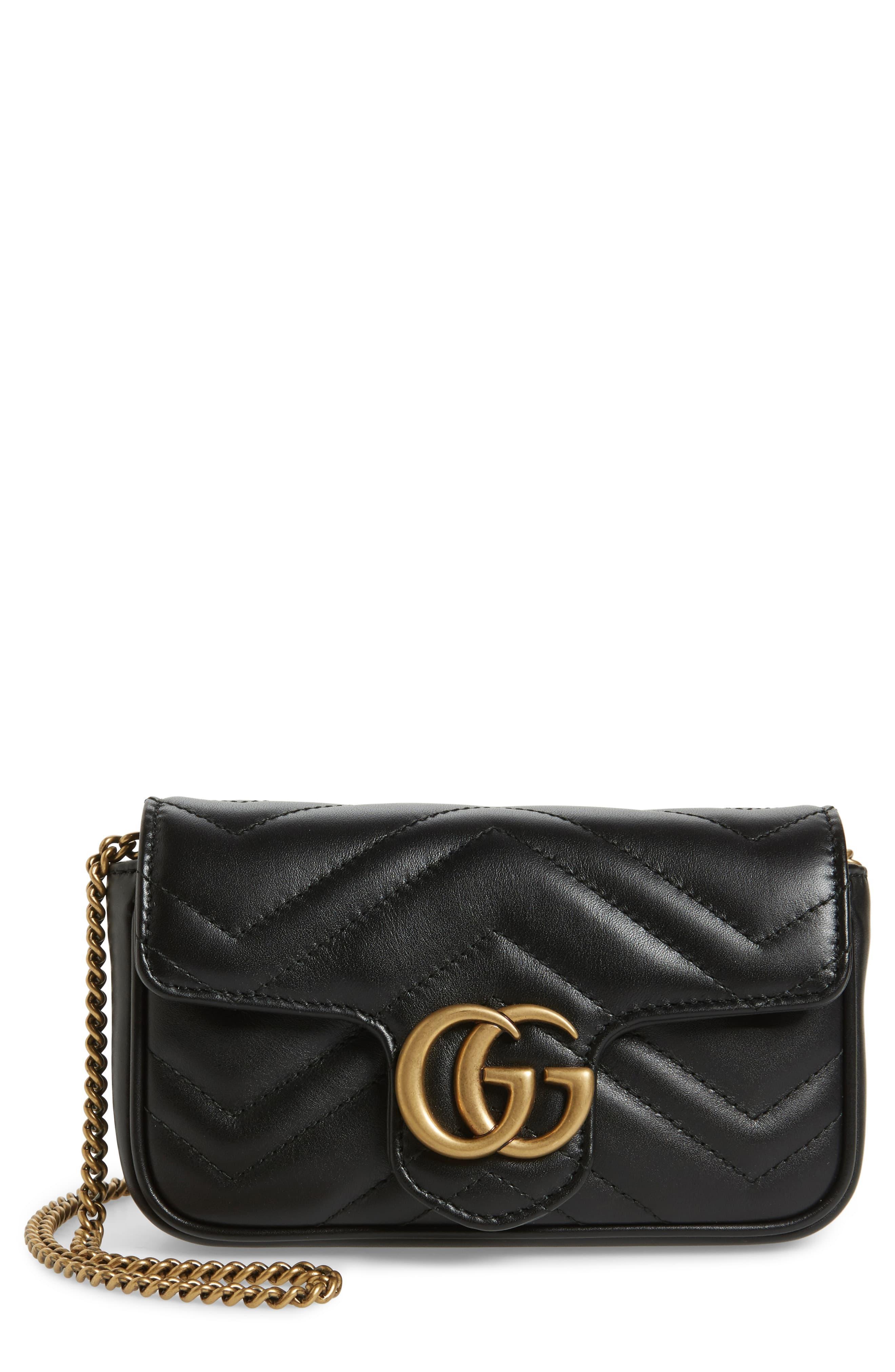 f2d71ce5983a Gucci. Women's Black Supermini Gg Marmont 2.0 Matelassé Leather Shoulder Bag  -