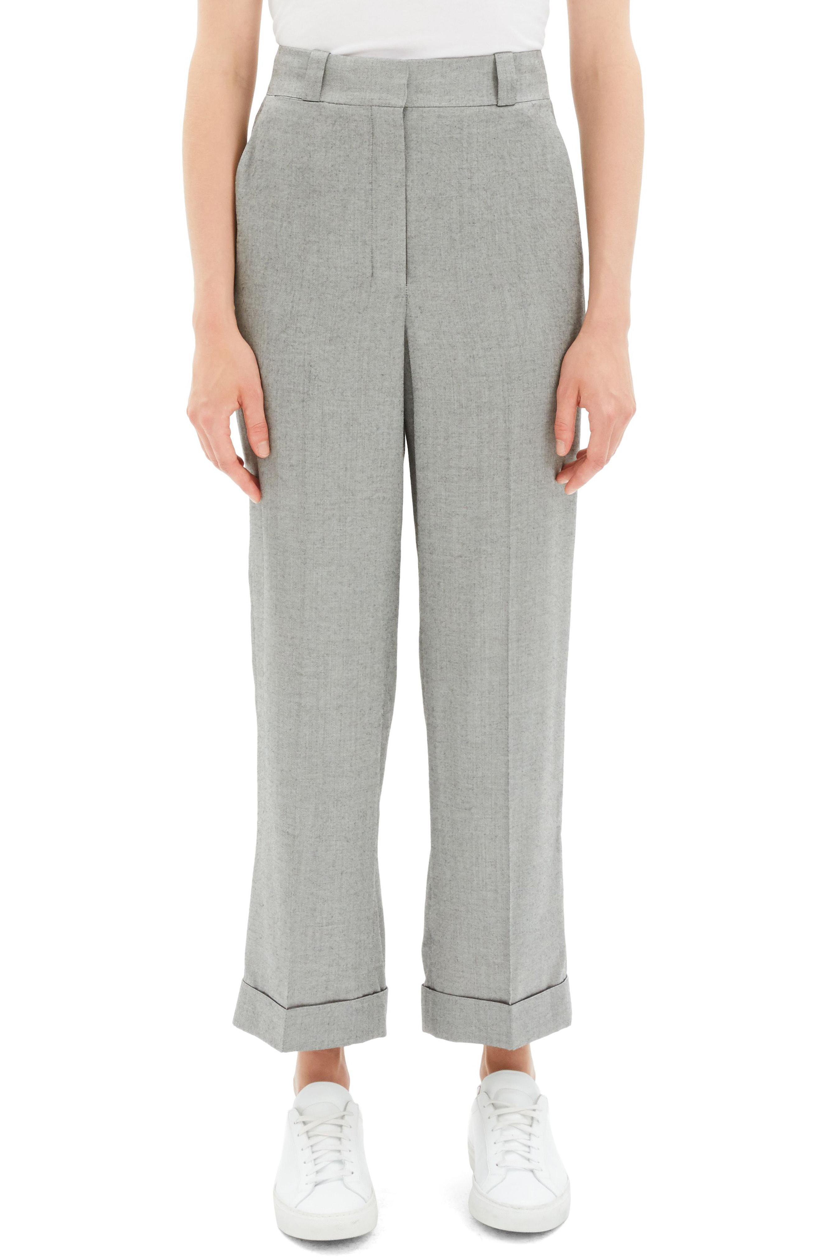 8e8932023e Lyst - Theory Cuffed Straight Leg Pants in Gray
