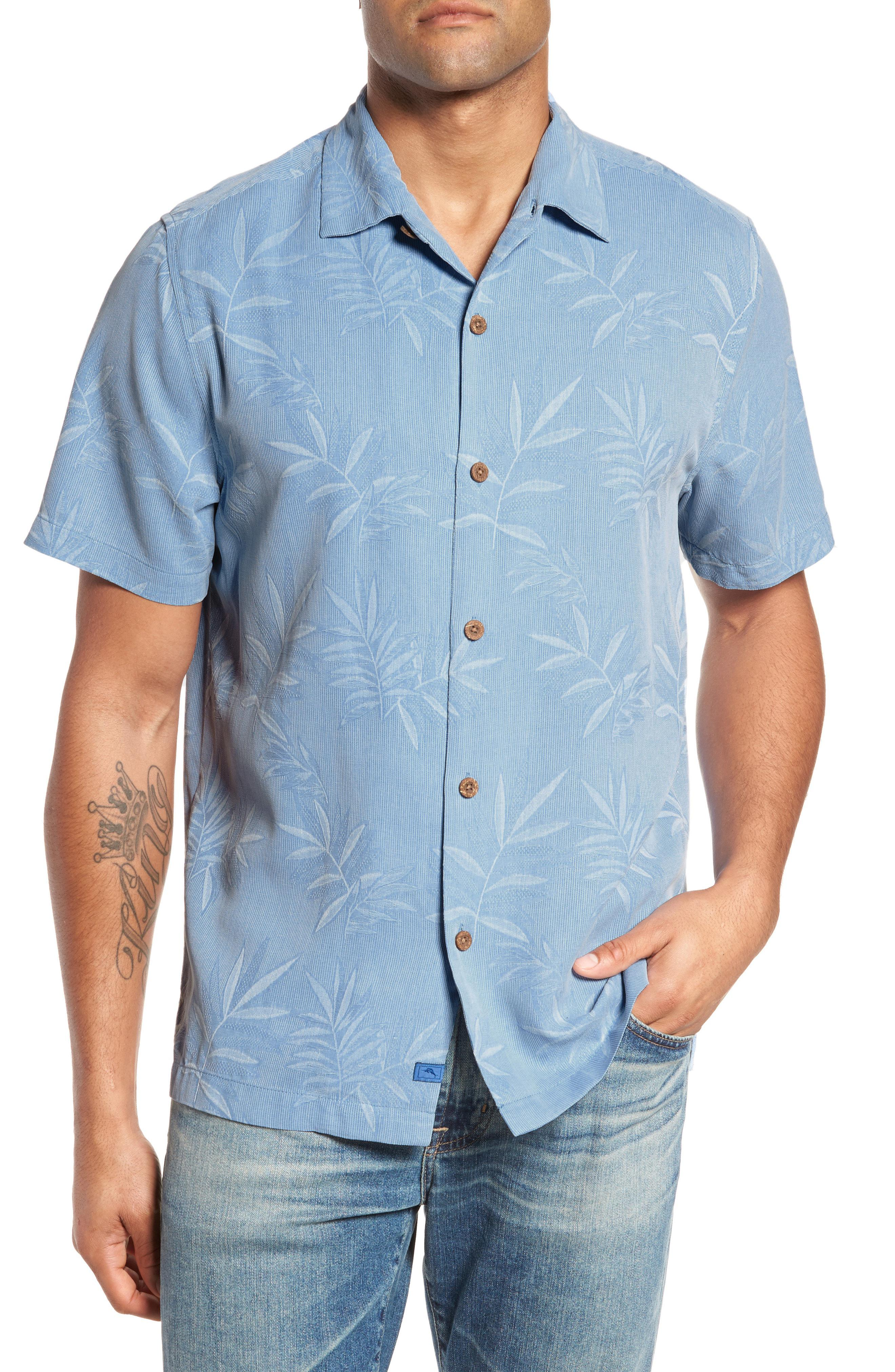 4dbe27cc Lyst - Tommy Bahama Luau Floral Silk Shirt in Blue for Men