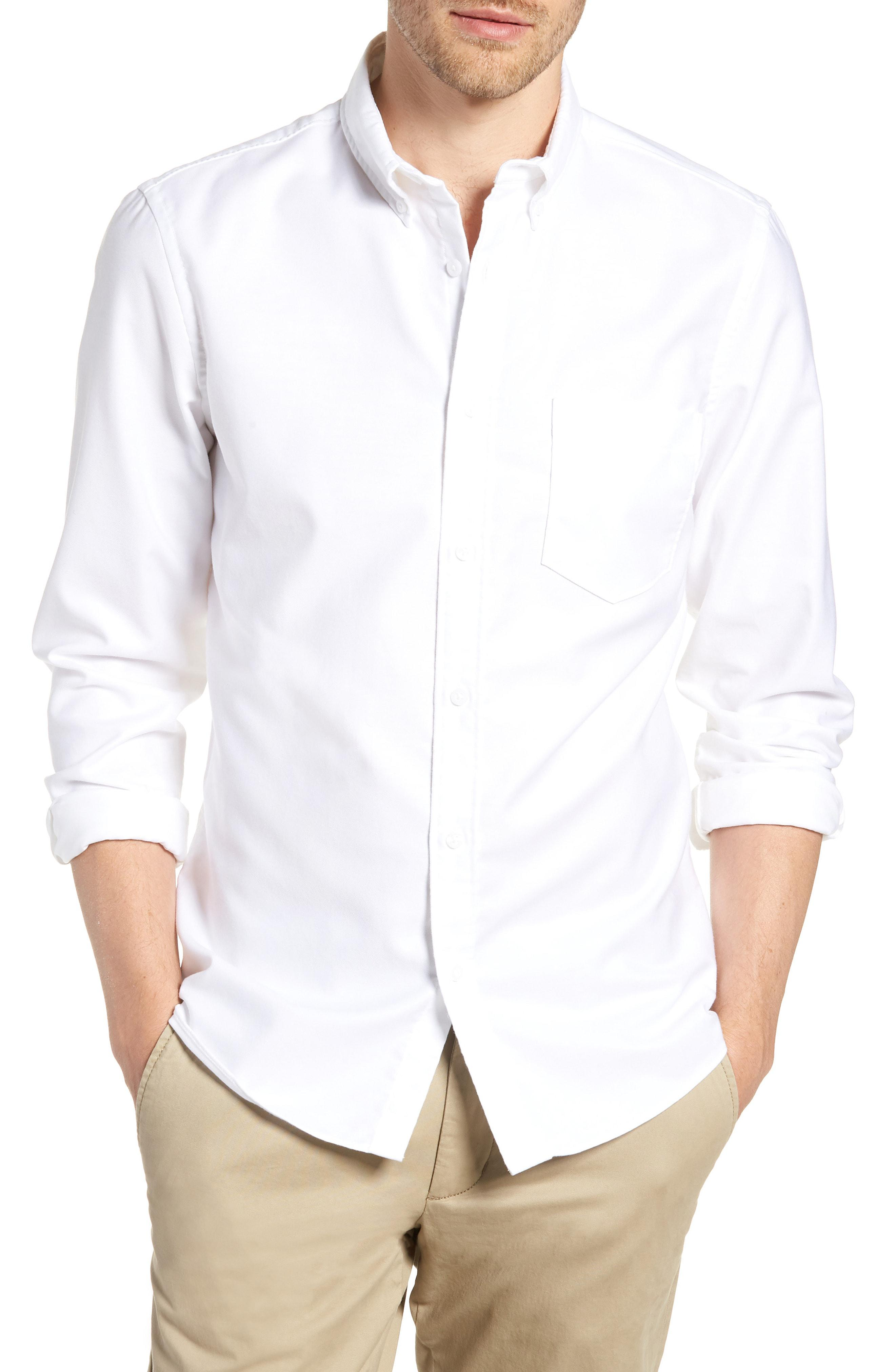 8f72e966b8e9 Lyst - Nordstrom 1901 Trim Fit Washed Oxford Shirt in White for Men