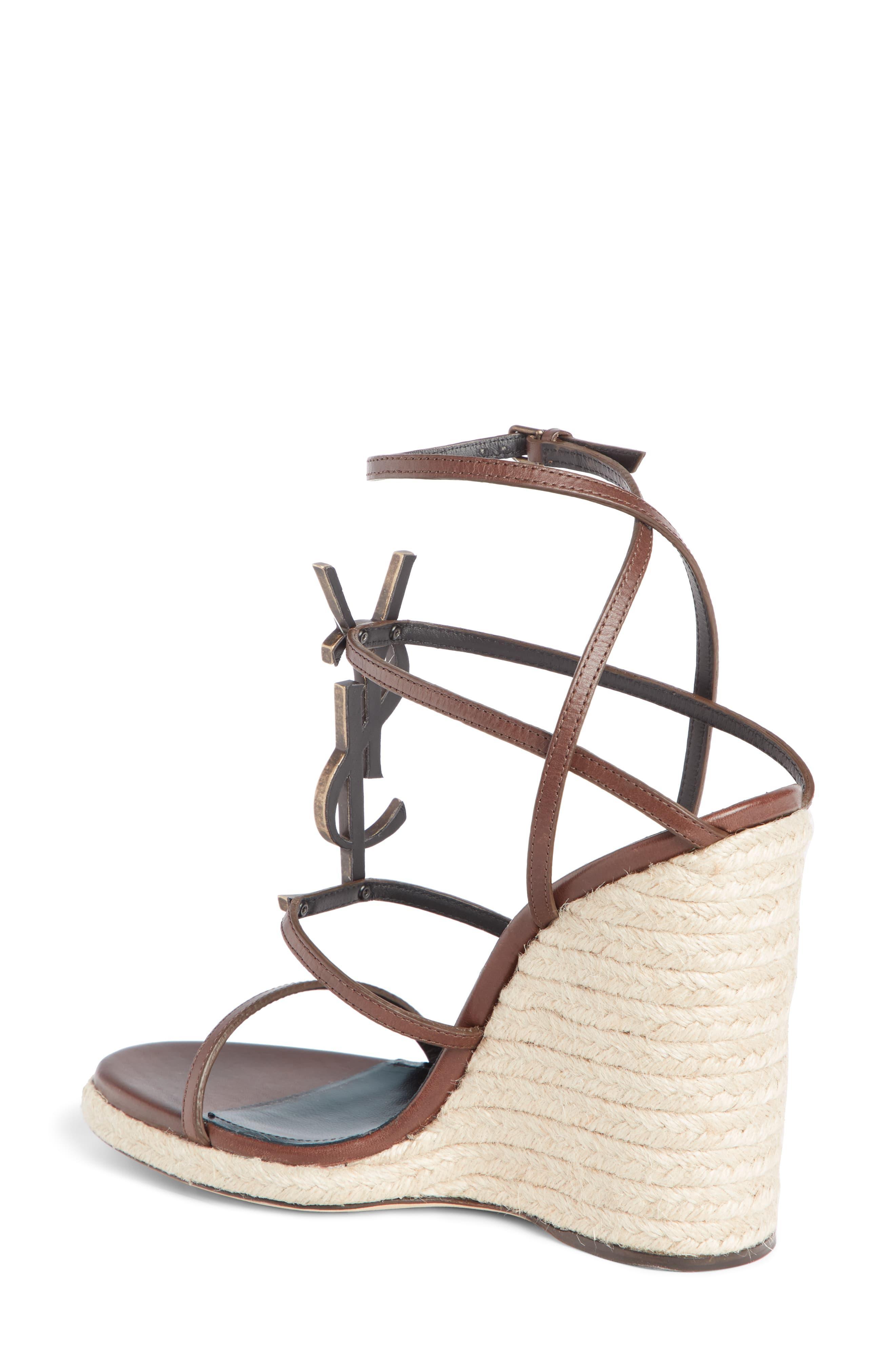 cf1f2194f Saint Laurent Cassandra Ysl Logo Wedge Sandal in Brown - Save 40% - Lyst