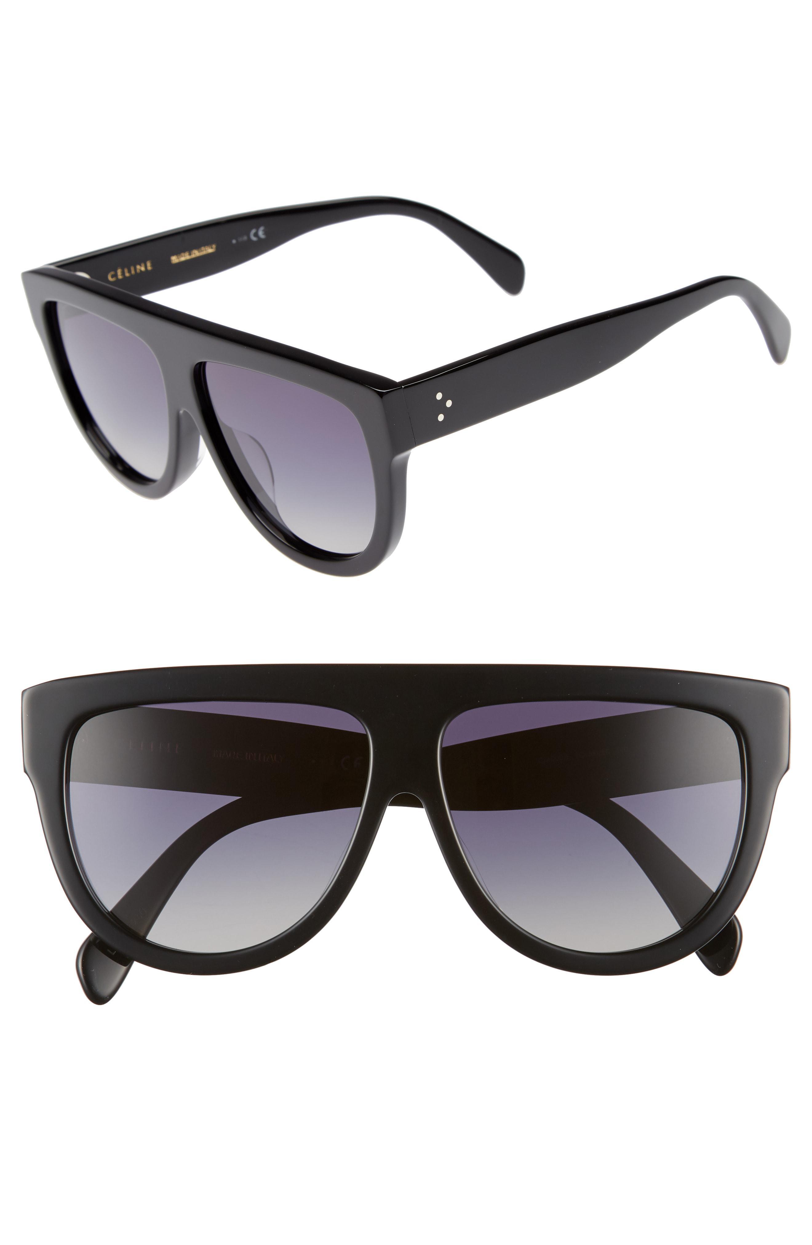 5a0309751ce Céline - Black Special Fit 60mm Polarized Gradient Flat Top Sunglasses - -  Lyst. View fullscreen