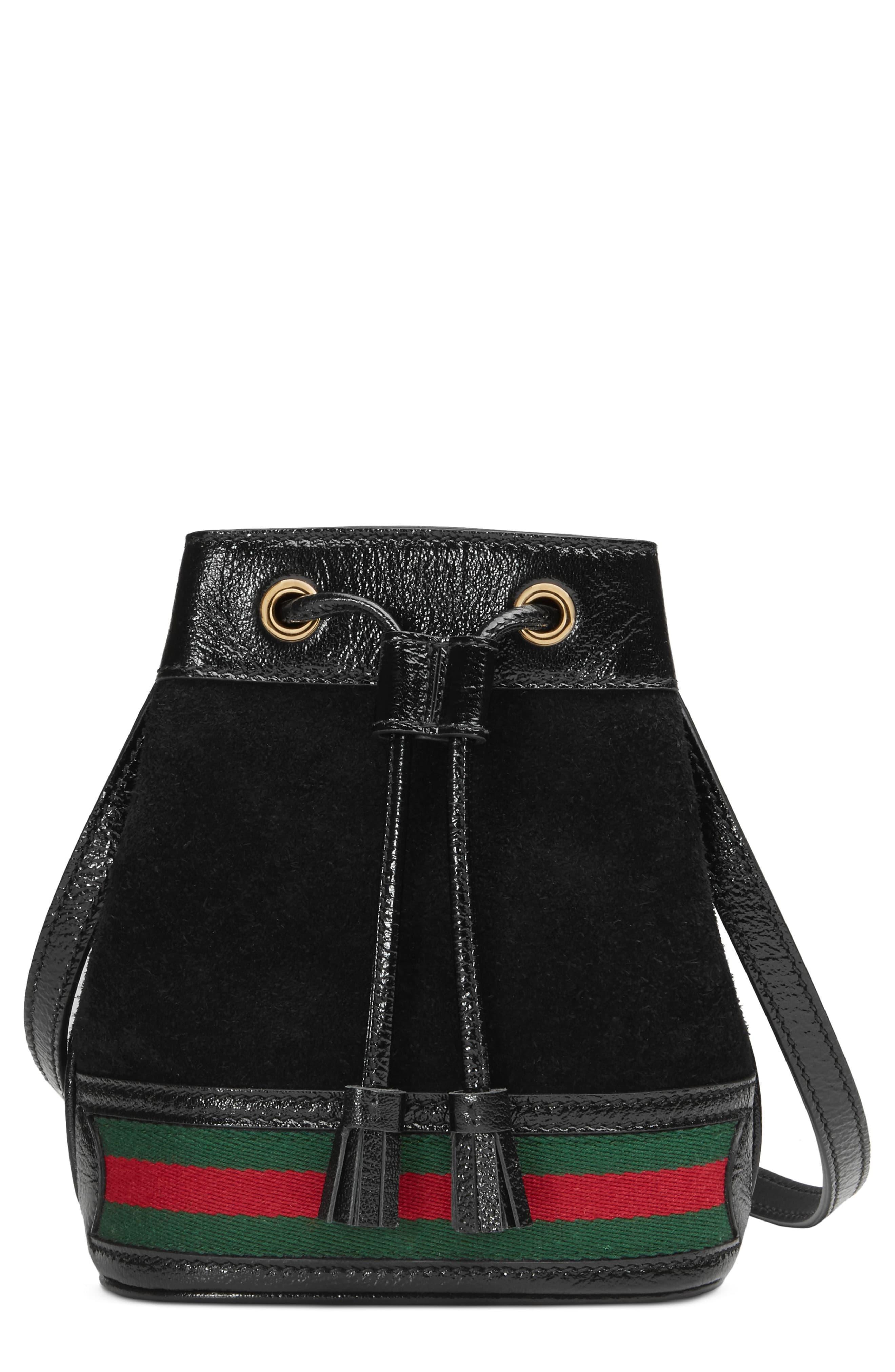 eb89dd345b4d Gucci Mini Ophidia Suede & Leather Bucket Bag - in Black - Lyst