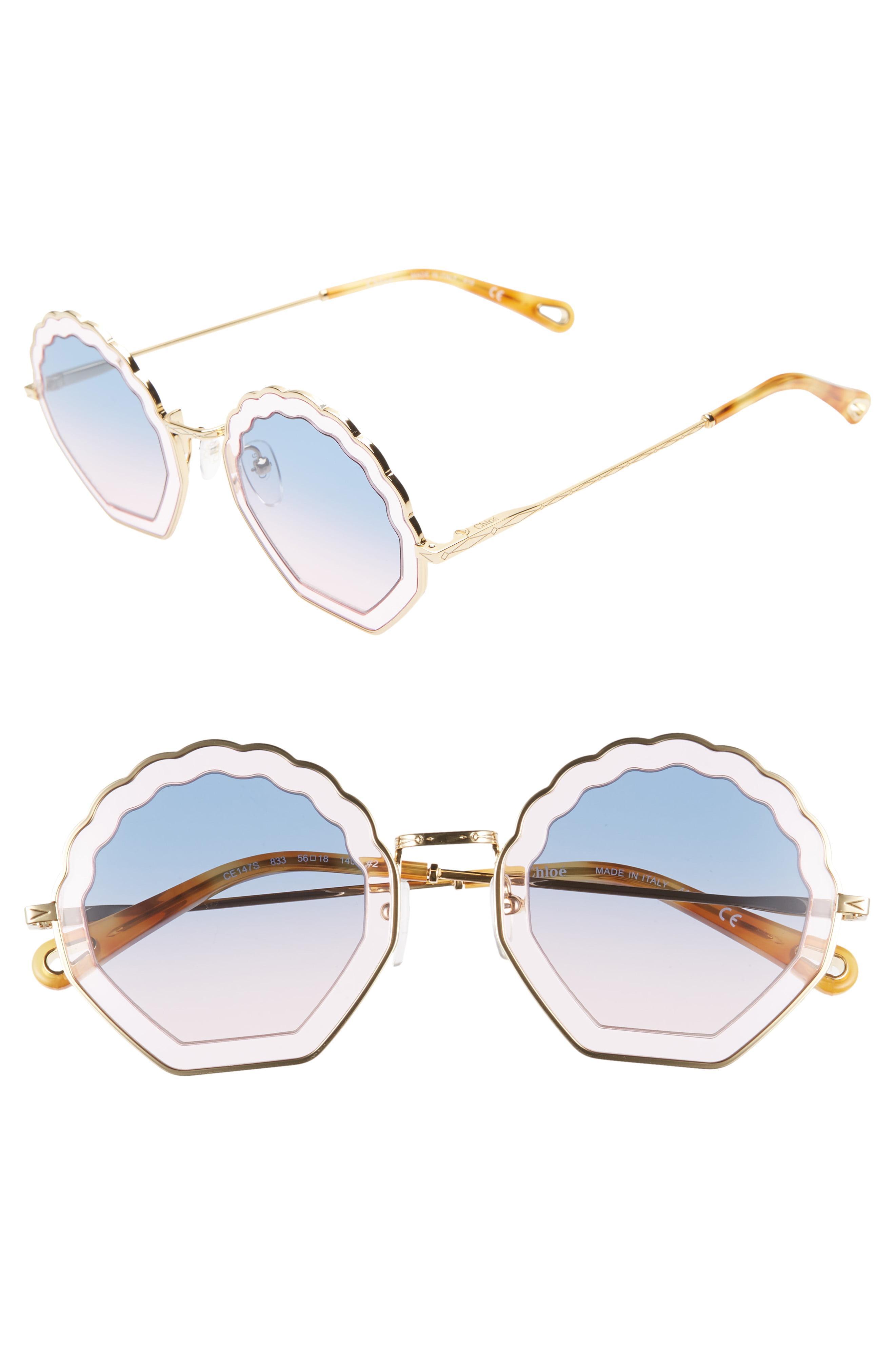 4ce714079e26 Lyst - Chloé Tally 56mm Scalloped Sunglasses in Blue