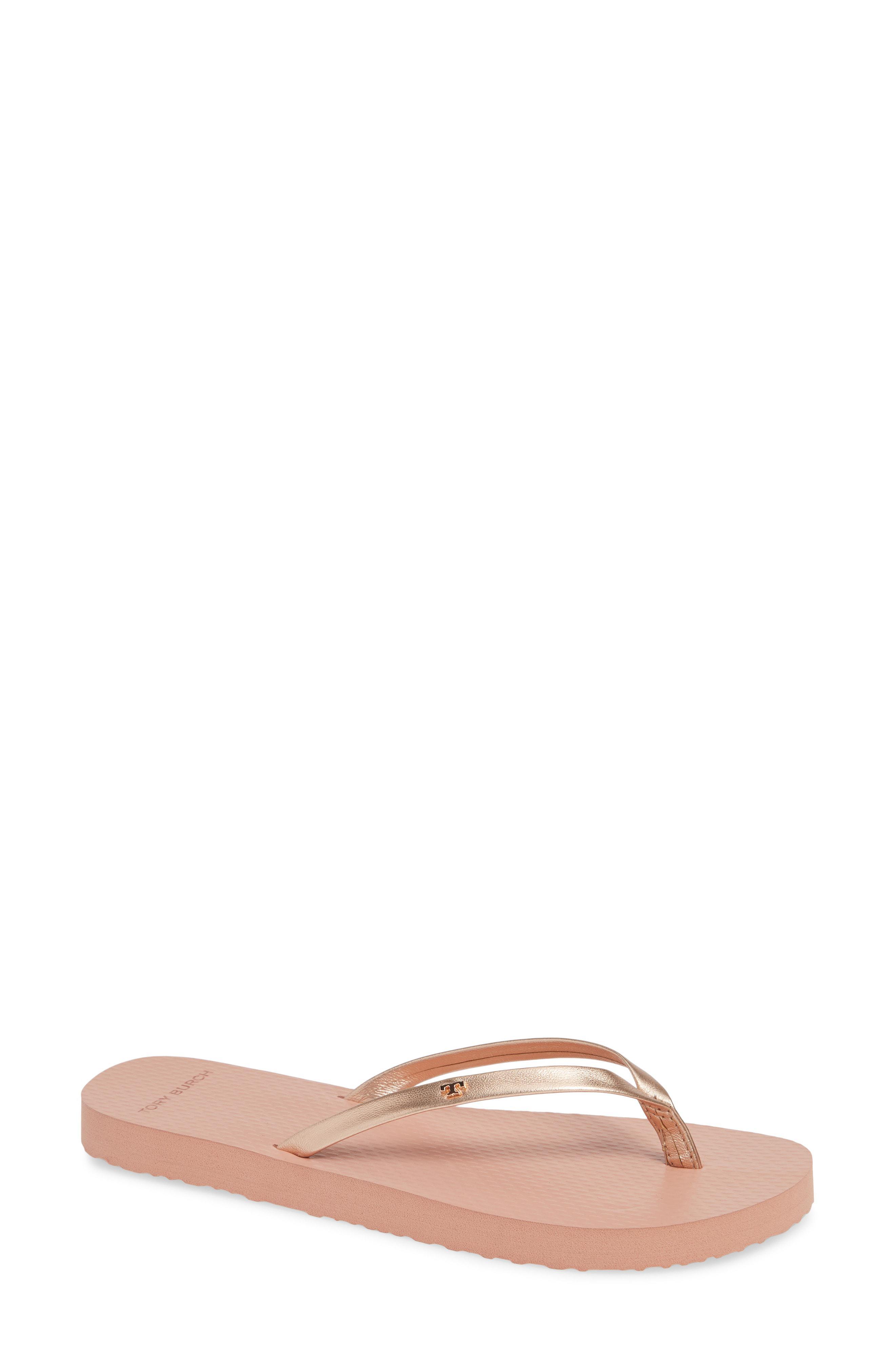 8d28f33bd6b Lyst - Tory Burch Logo Metallic Flip Flop in Pink