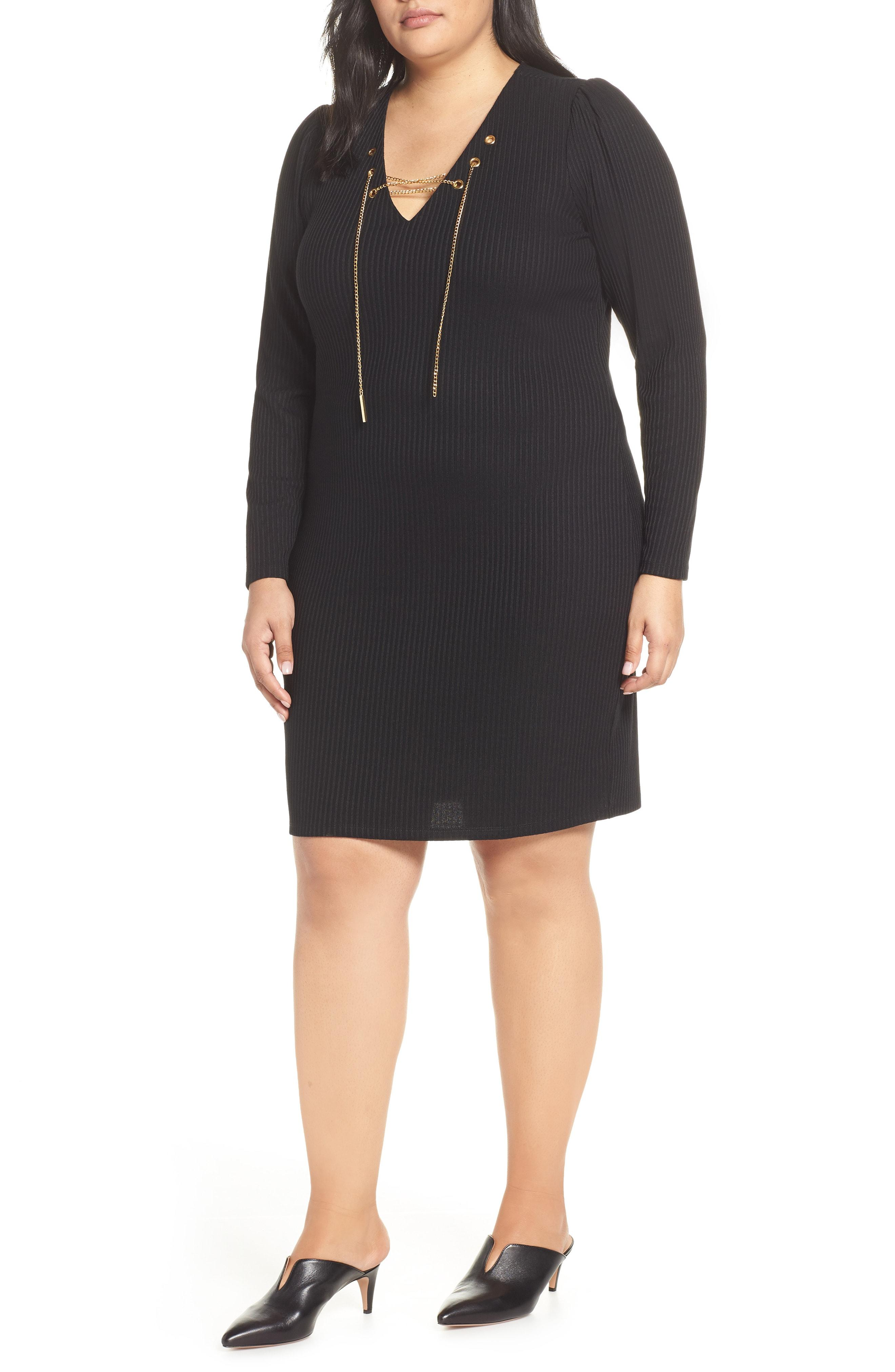 85e51d5157 MICHAEL Michael Kors Chain Lace-up V-neck Sweater Dress in Black - Lyst