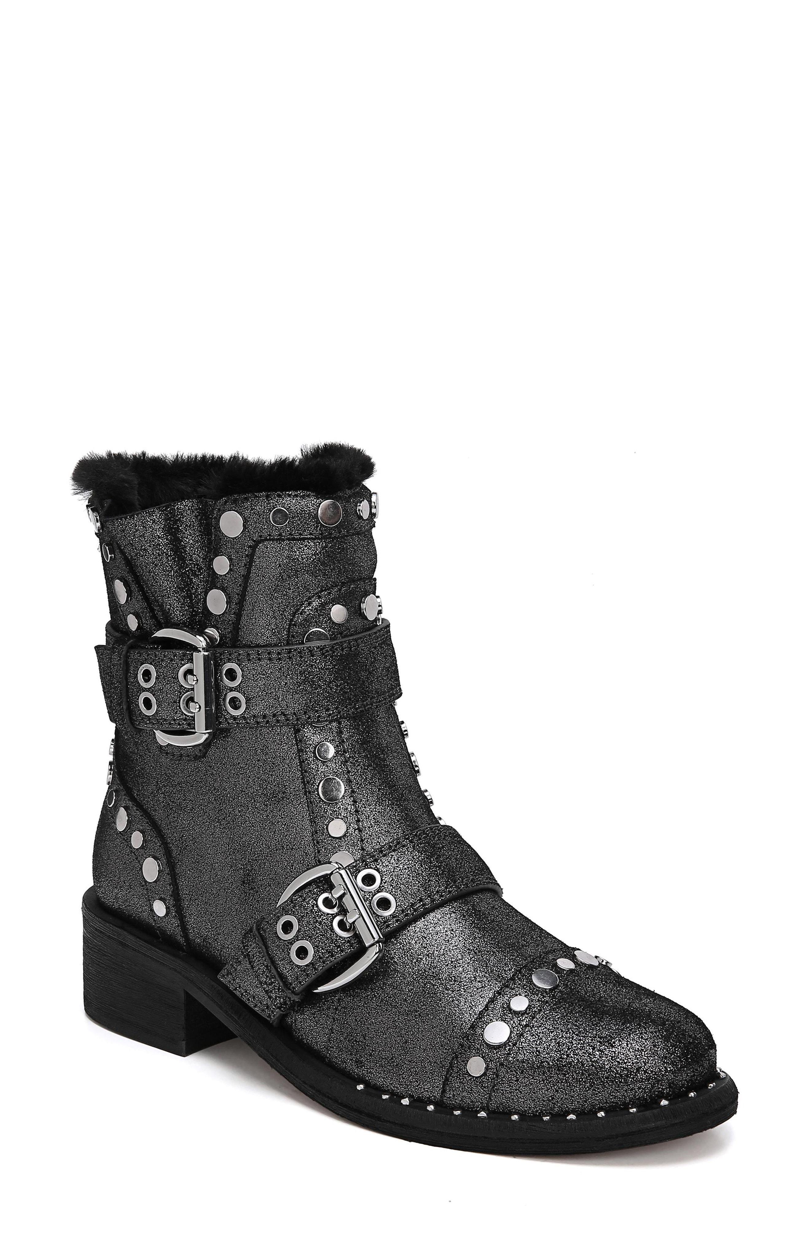 607221c50cec94 Lyst - Sam Edelman Drea Stud Moto Boot in Gray
