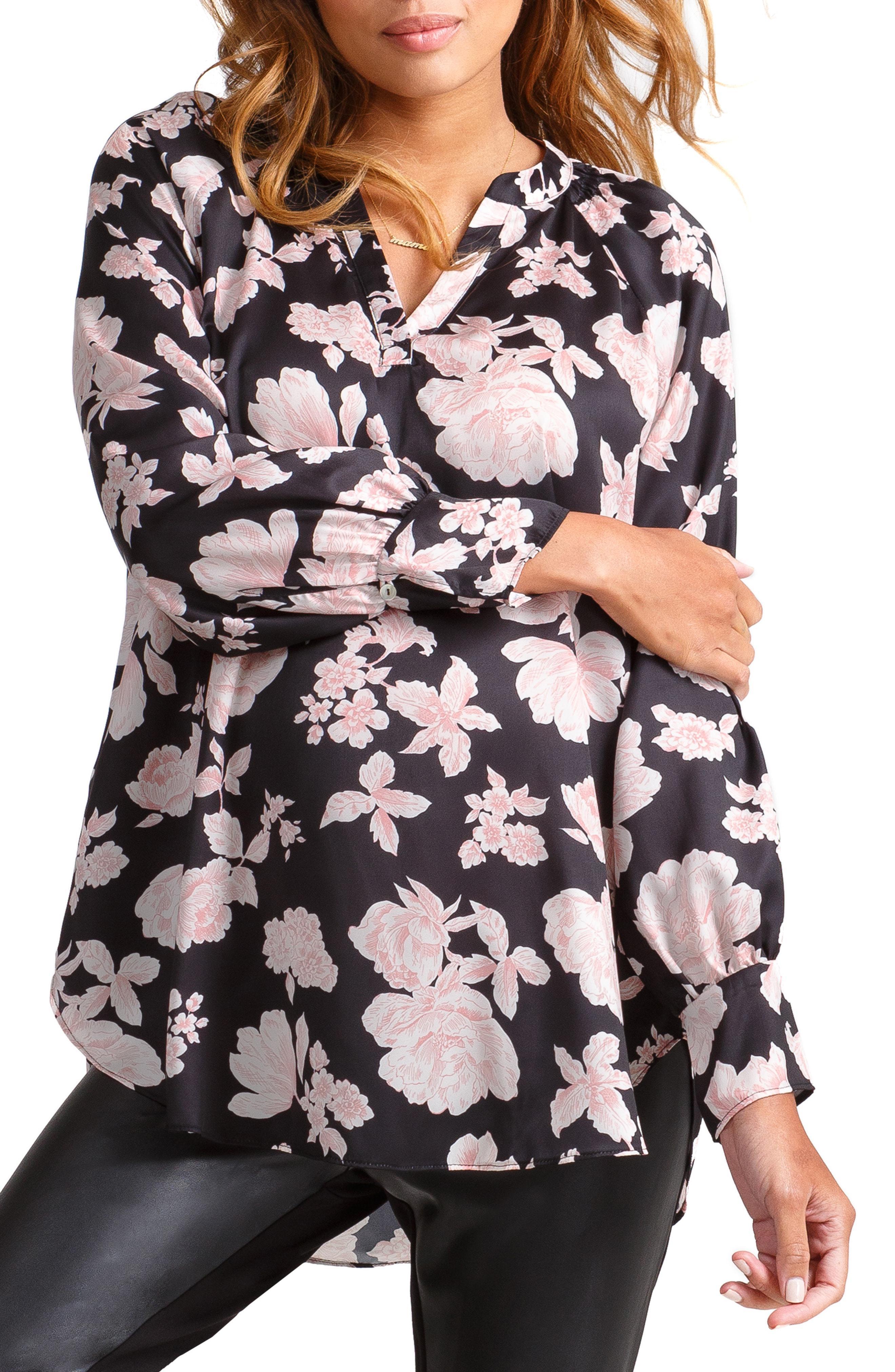 45ced3710f4 Lyst - Ingrid   Isabel Ingrid   Isabel Split Neck Maternity Top in Black