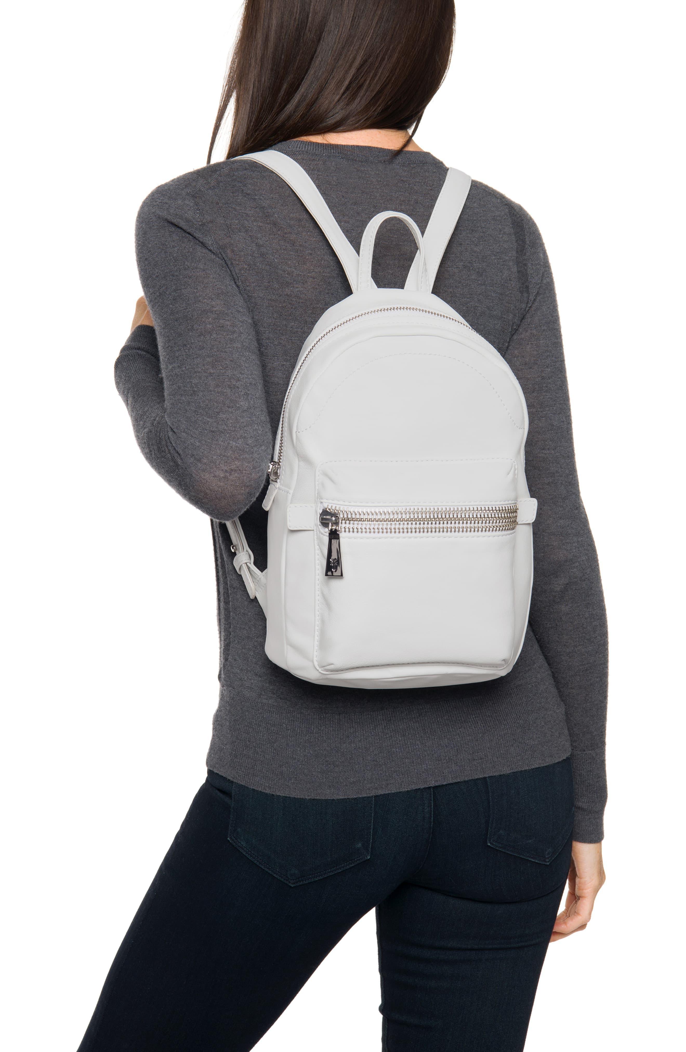 Frye Lena Zip Leather Backpack in White