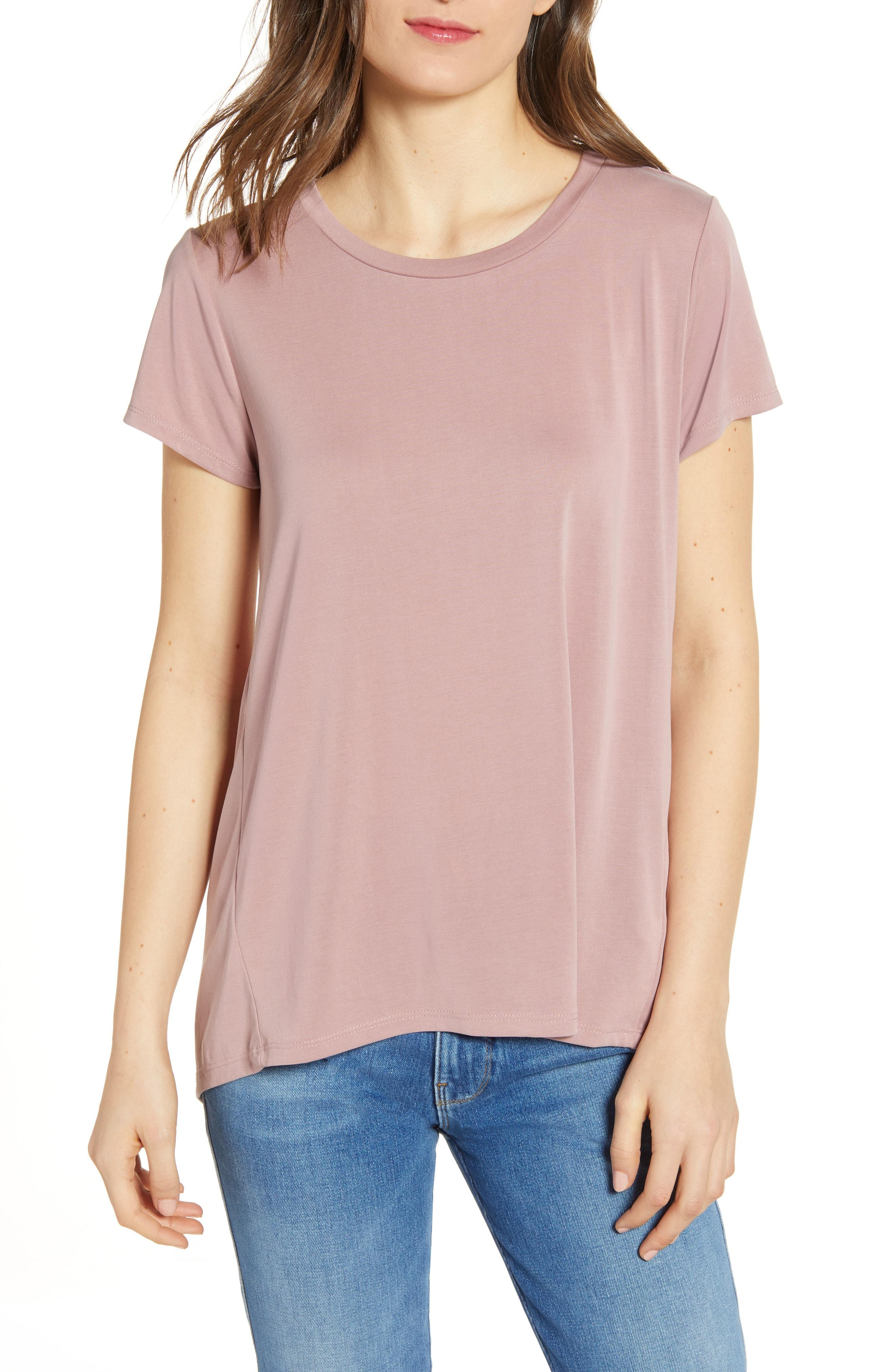 e08b9386014fb6 Lyst - Chelsea28 High low Crewneck Tee in Pink