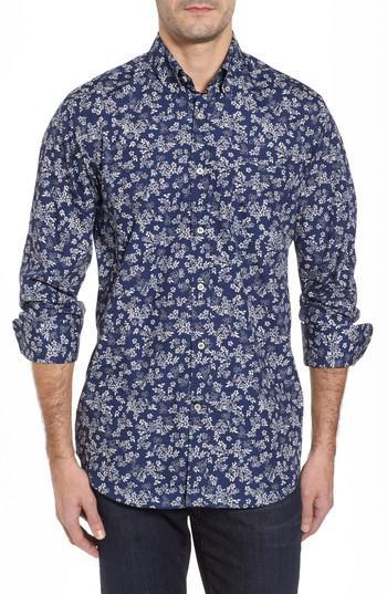 3517f7ed Paul & Shark Regular Fit Flower Print Sport Shirt in Blue for Men - Lyst