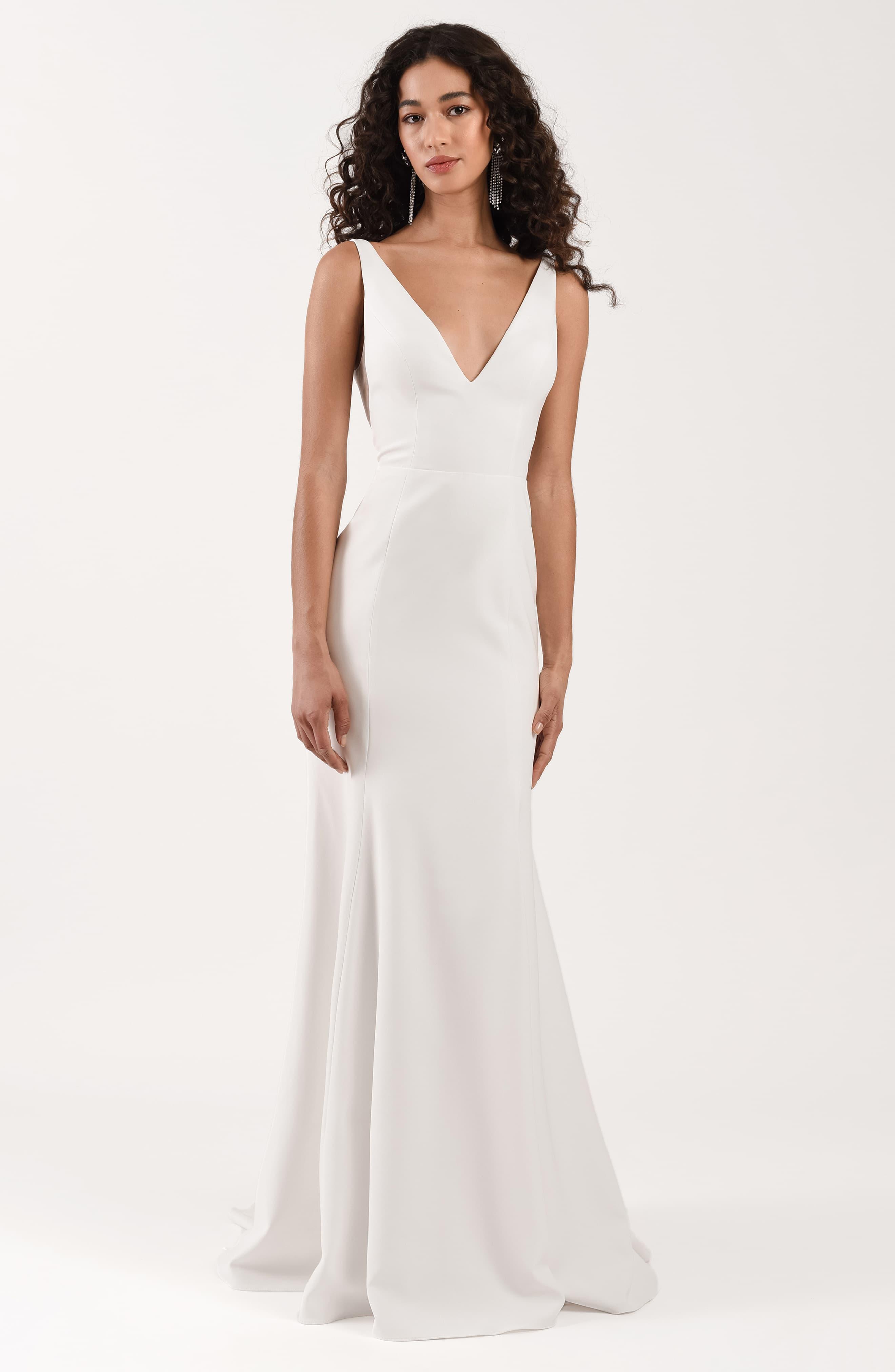 Jenny Yoo Tulle Neve Crepe Trumpet Wedding Dress In Ivory White