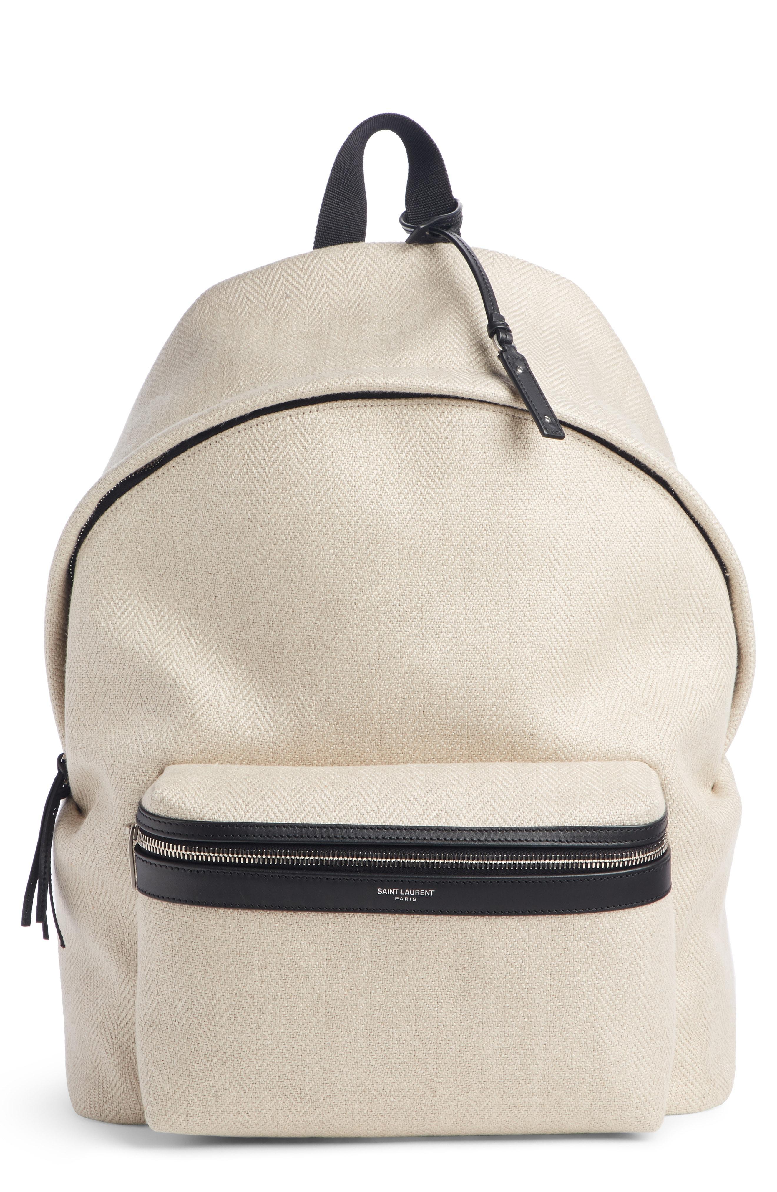 2bc408a8f Lyst - Saint Laurent City Herringbone Linen Backpack in Natural for Men