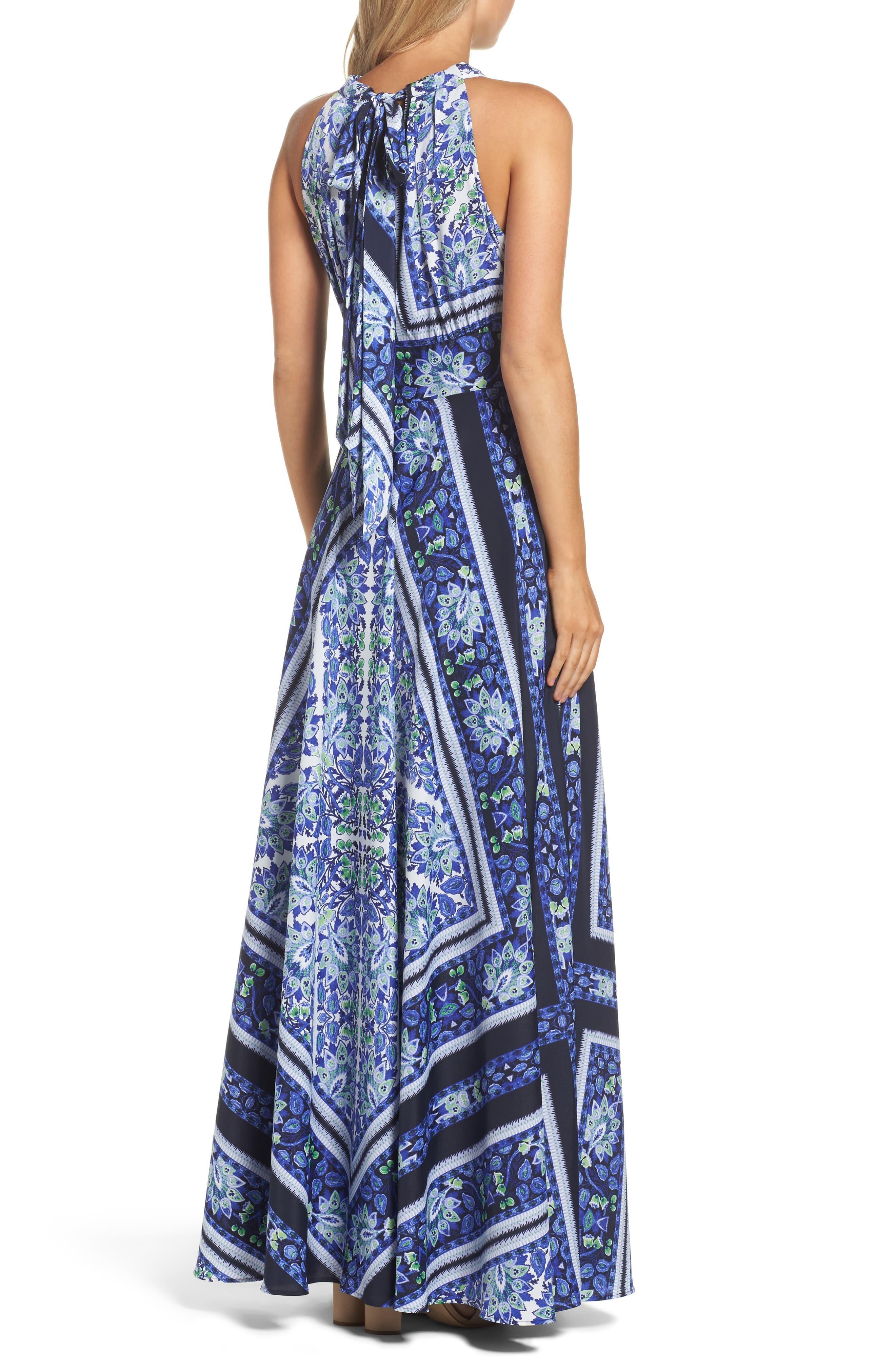 6cbfd3ddfd7df Women's Blue Scarf Print Maxi Dress