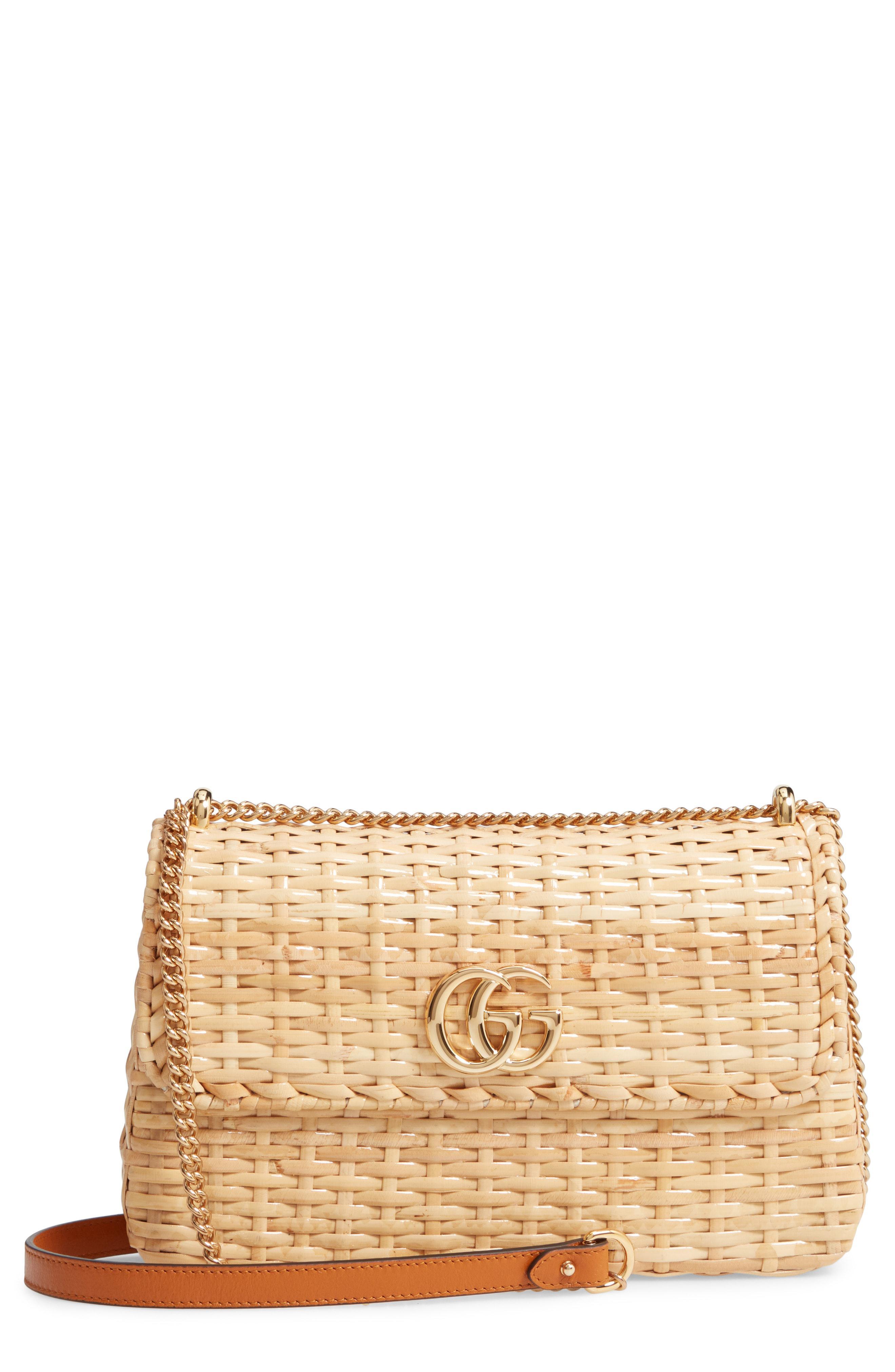 40a972cdd5ec Gucci Small Linea Cestino Glazed Wicker Shoulder Bag in Natural - Lyst