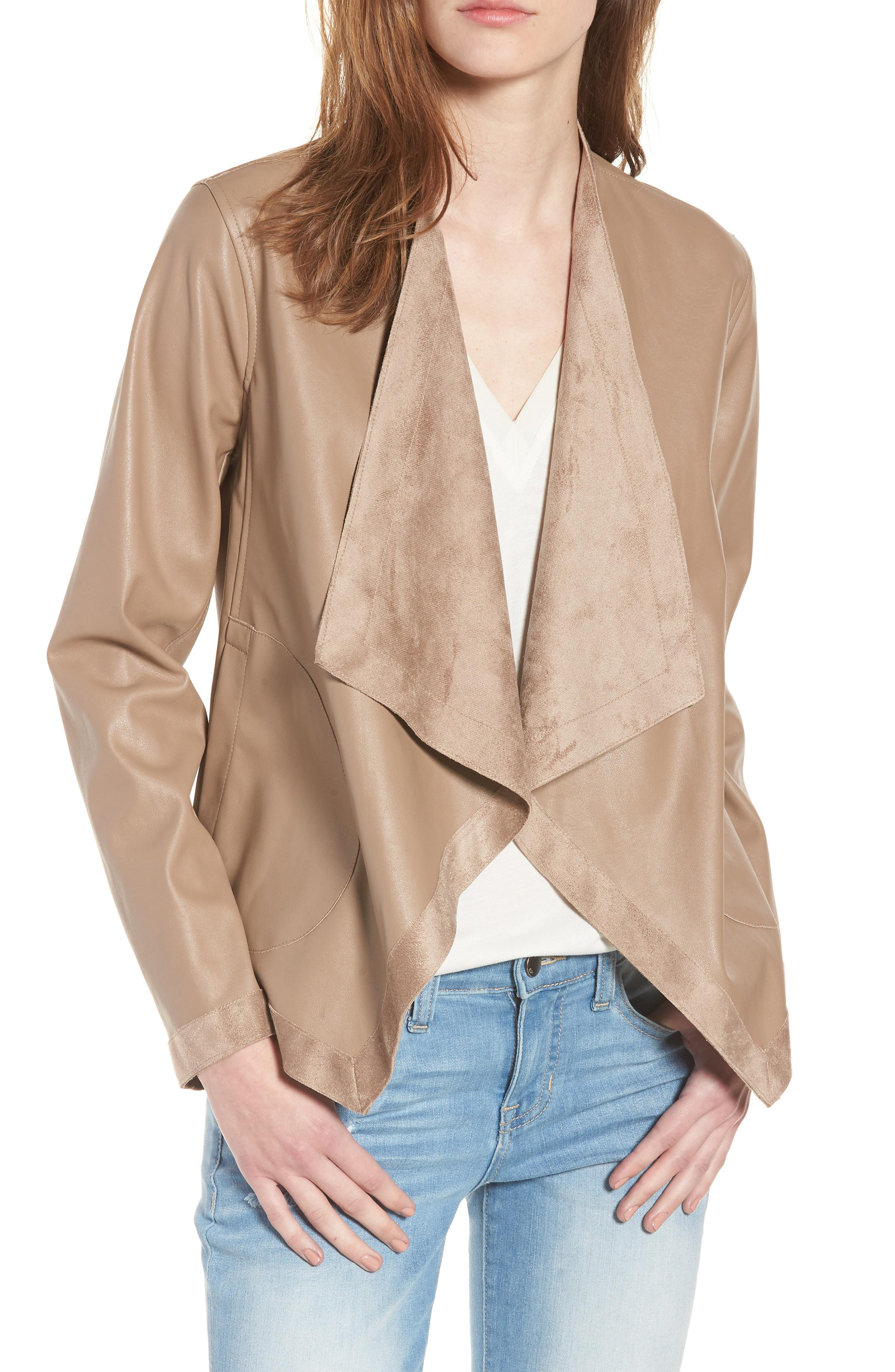 d0bfd2c3a Women's Natural Teagan Reversible Faux Leather Drape Front Jacket