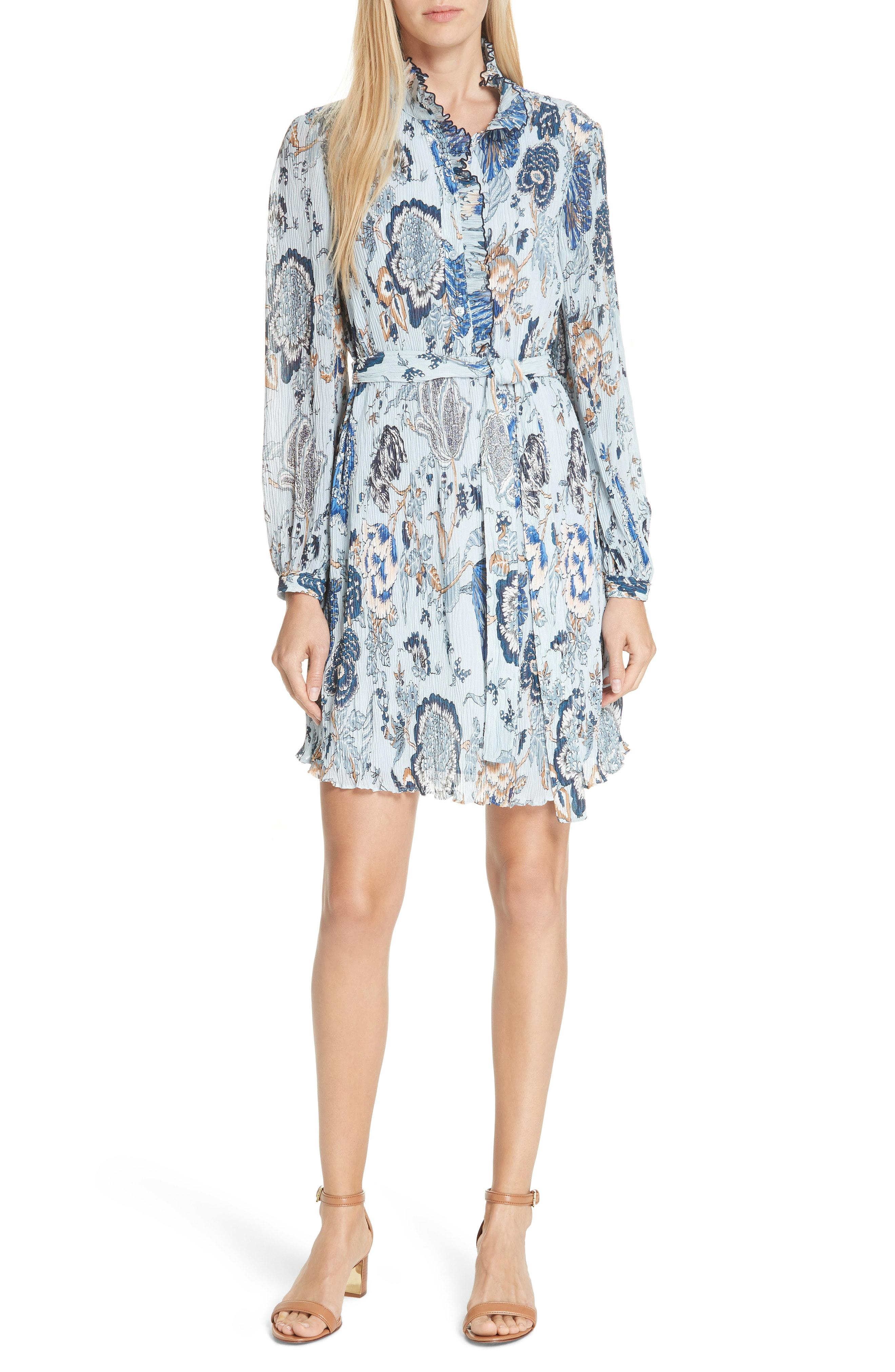 042ee29260a9 Lyst - Tory Burch Deneuve Floral Ruffle Minidress in Blue