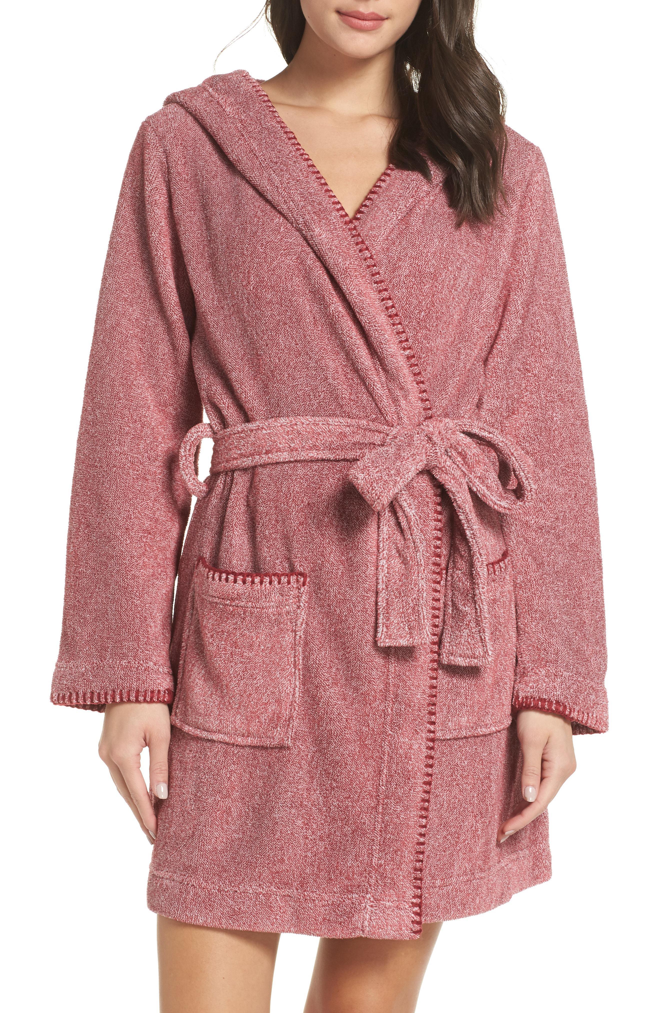 Womens Make Model Starry Night Plush Short Robe, Size XX-Small - Burgundy