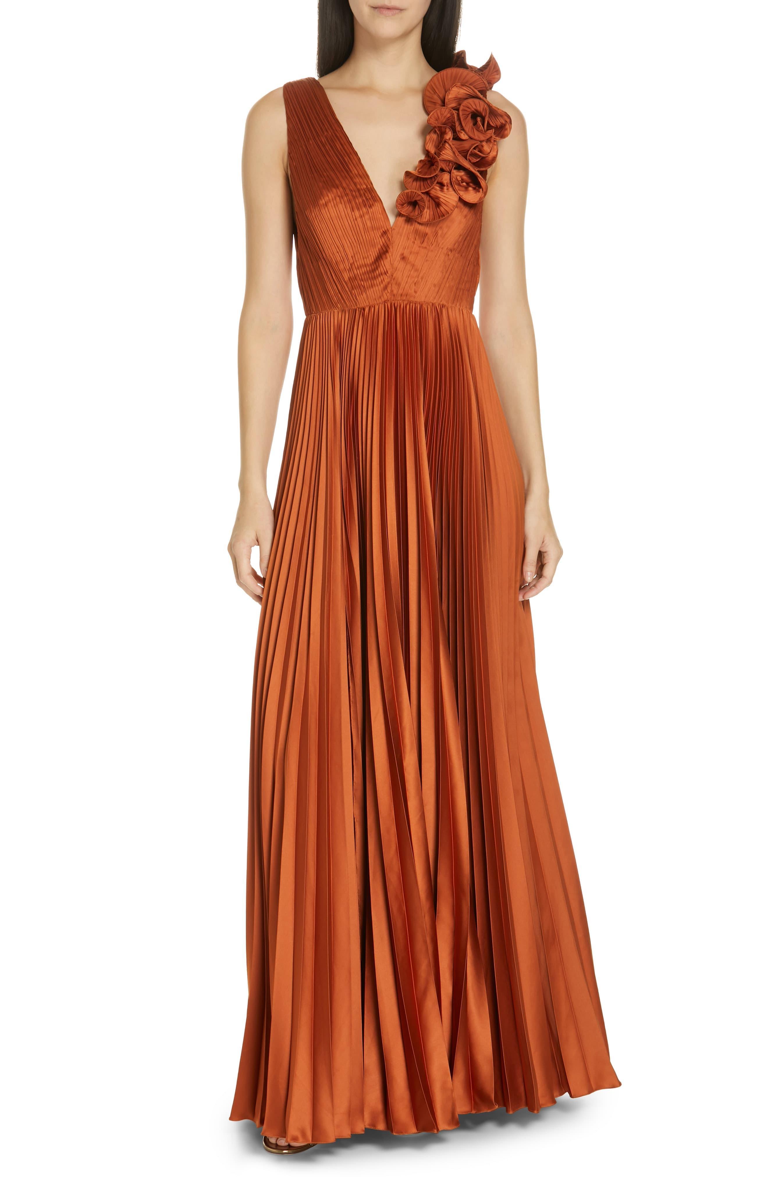 Yellow Pleated color-block silk maxi dress   Akris   NET-A