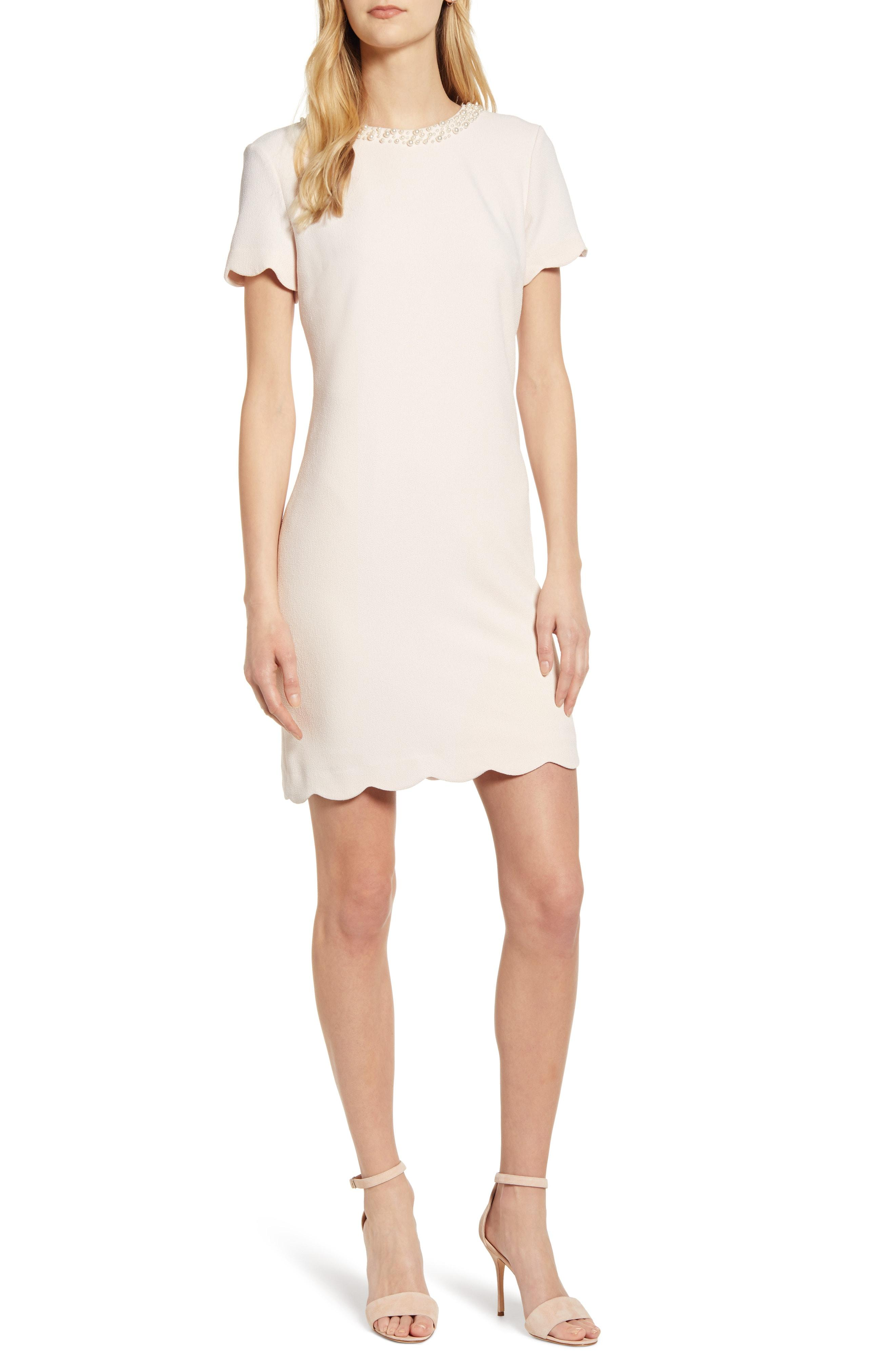 e46ae9be Lyst - Karl Lagerfeld Faux Pearl Detail Sheath Dress in White
