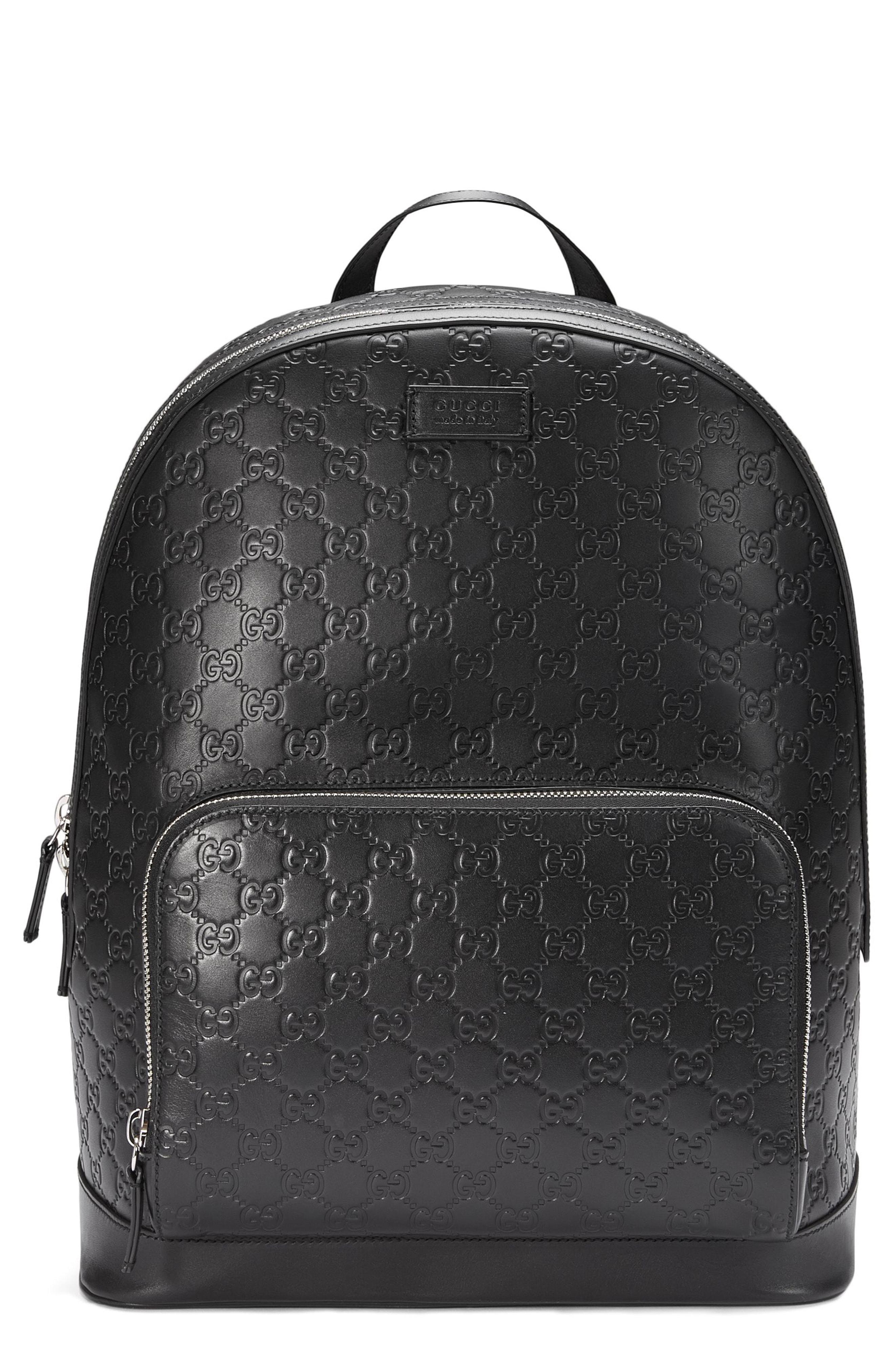 fac9e8f1e095 Gucci Embossed Leather Backpack in Black for Men - Lyst