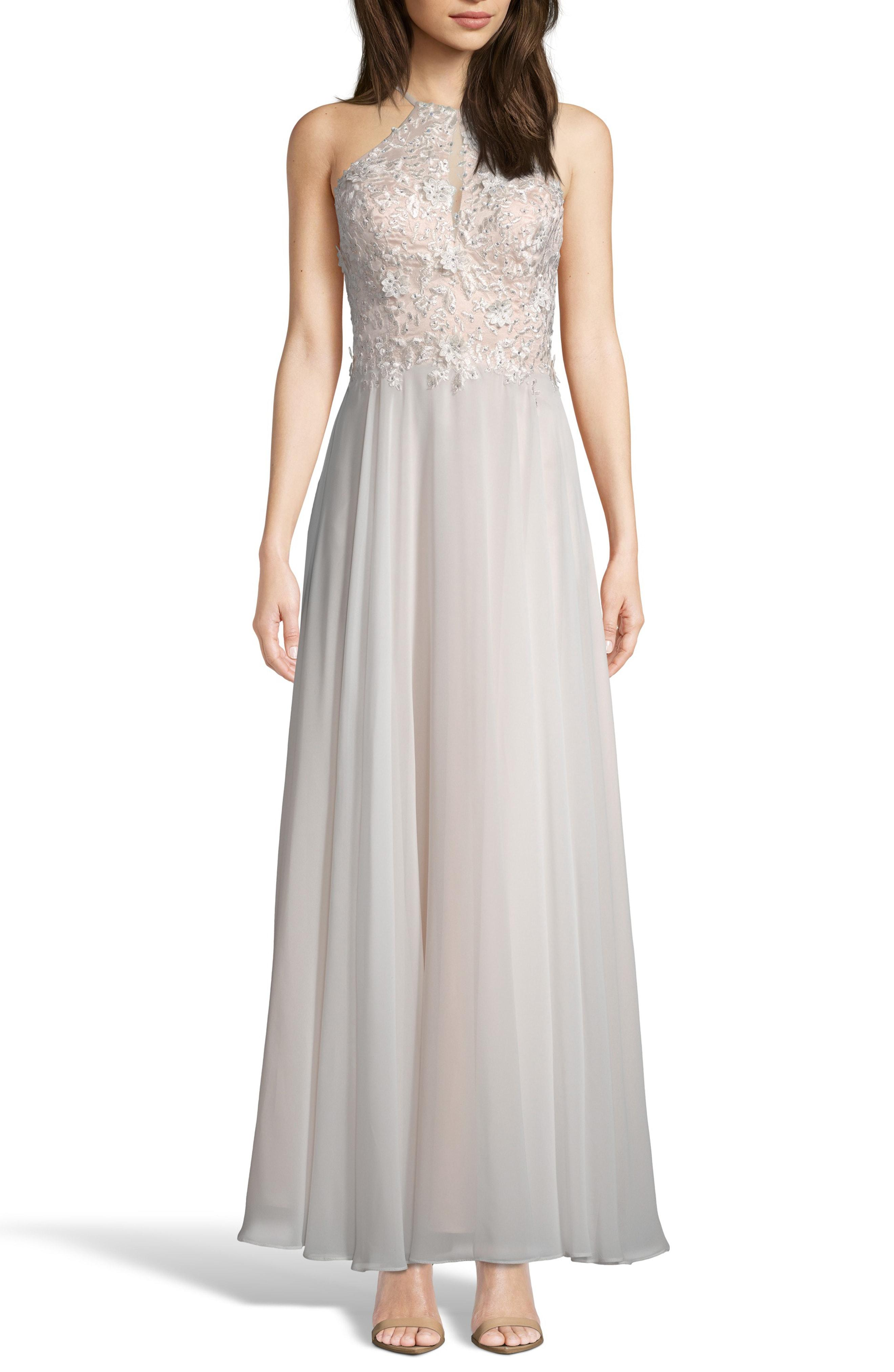 cc290307 Lyst - Xscape Beaded 3d Floral Lace Chiffon Evening Dress in White