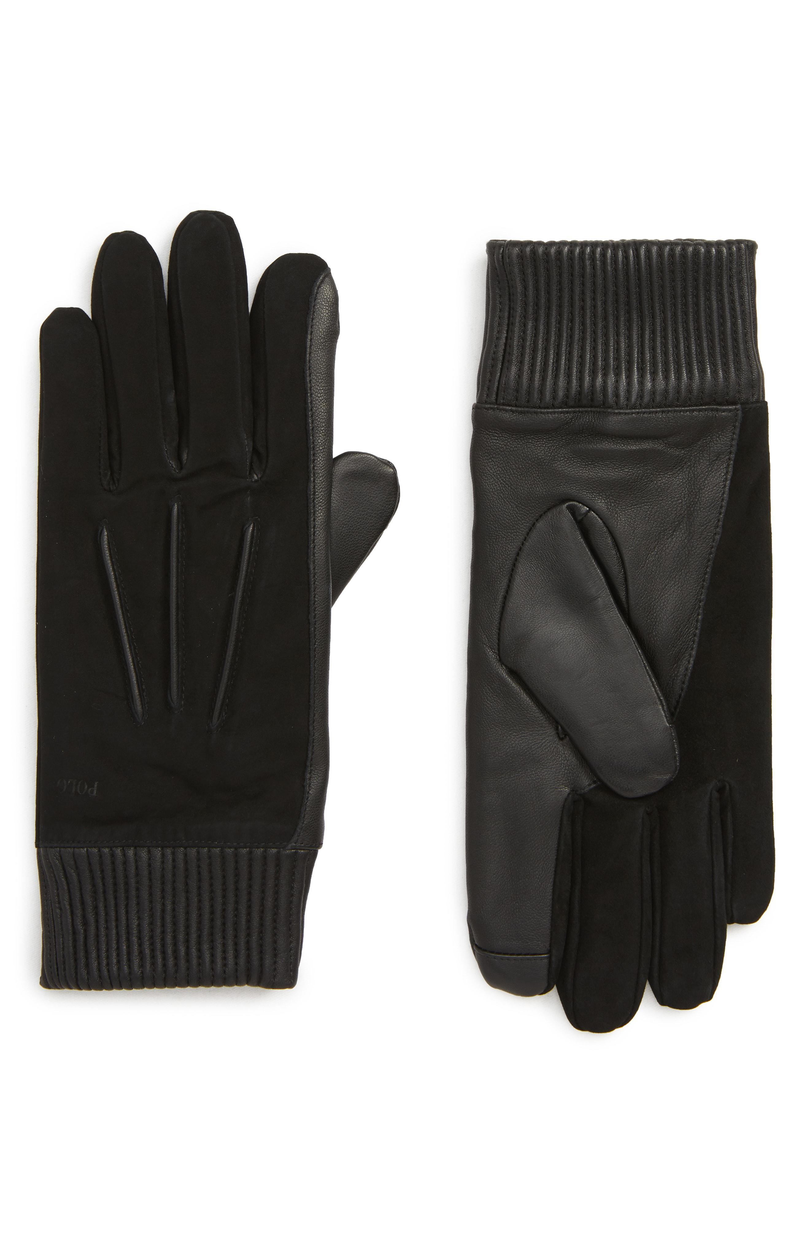 7be1b8284a648 Lyst - Polo Ralph Lauren Nappa Leather & Suede Gloves in Black for Men