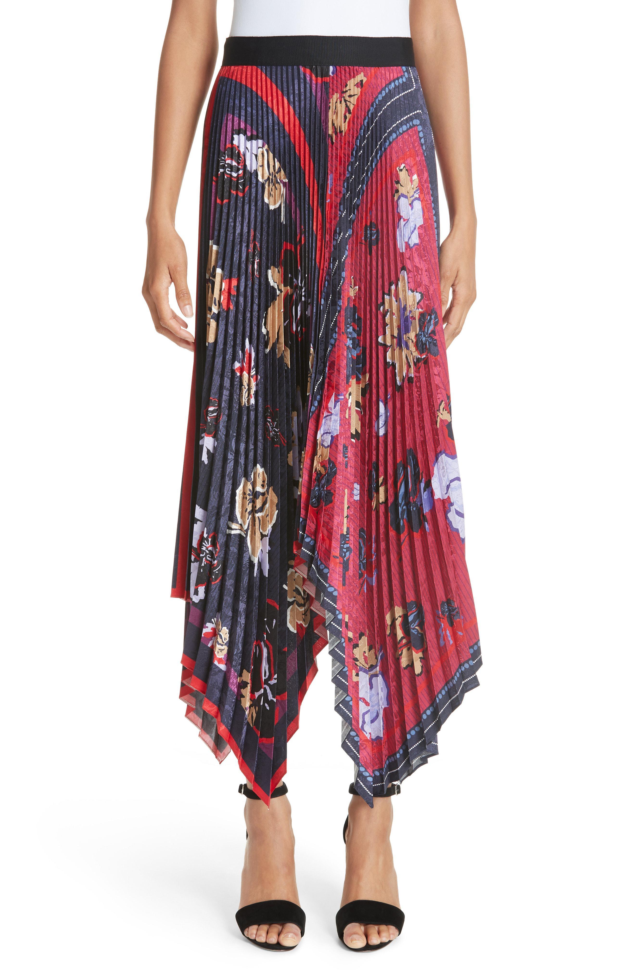 76d718c61 Yigal Azrouël Women's Pleated Handkerchief Midi Skirt - Midnight ...