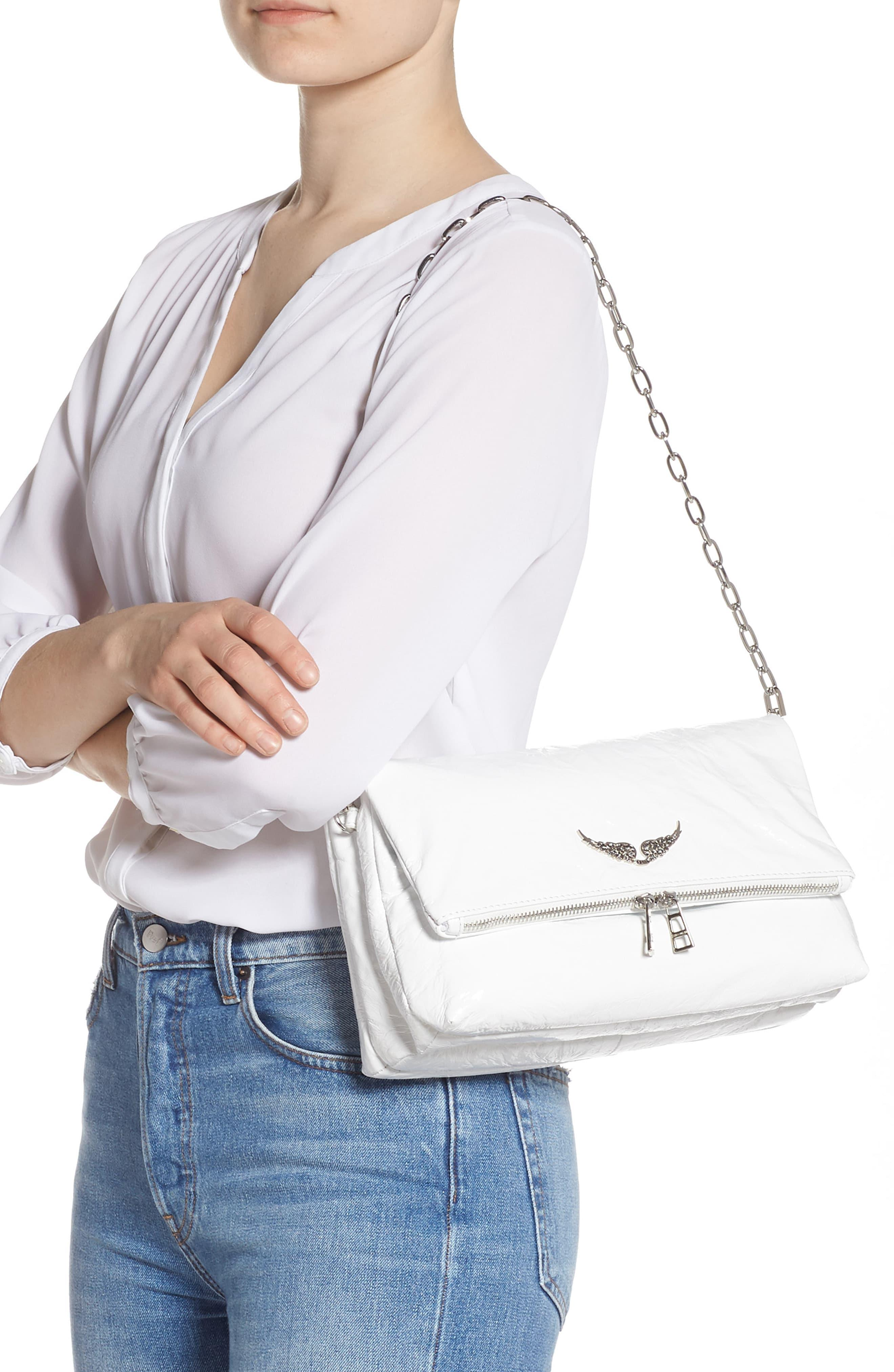 Zadig Voltaire Rocky Crinkle Leather Crossbody Bag In White Lyst