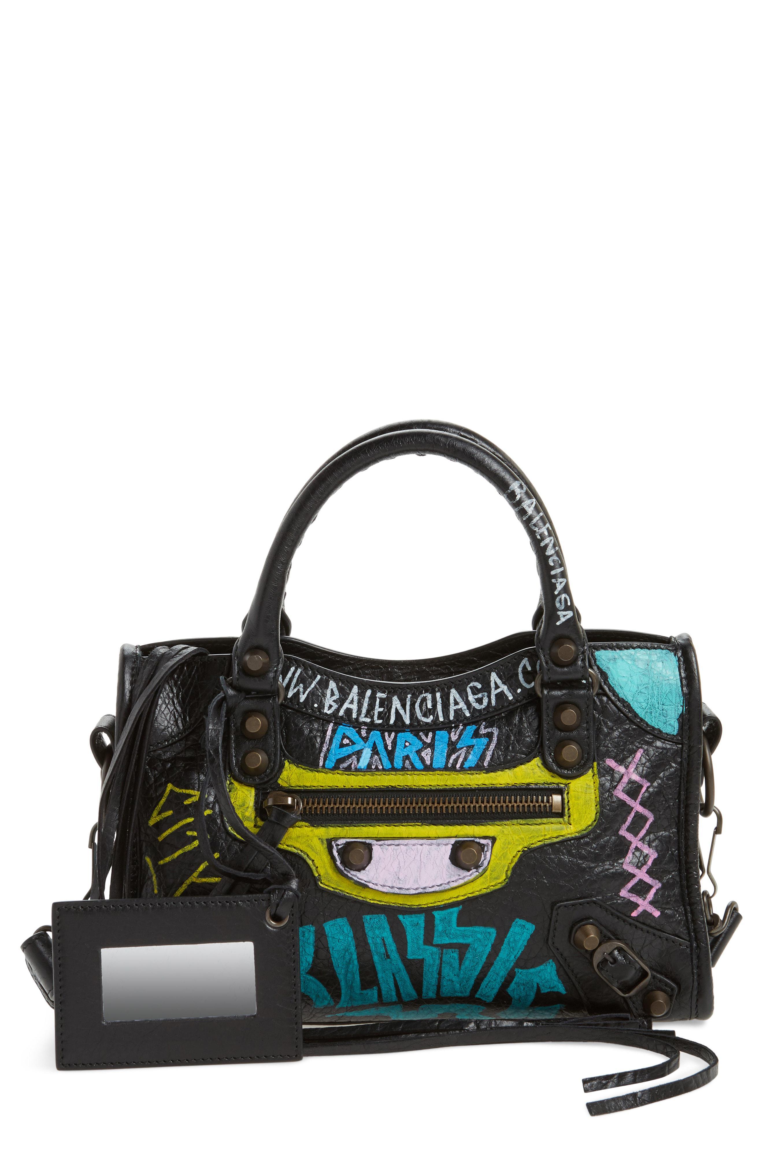 1c0d6ace6e Balenciaga Mini City Graffiti Leather Tote - Lyst