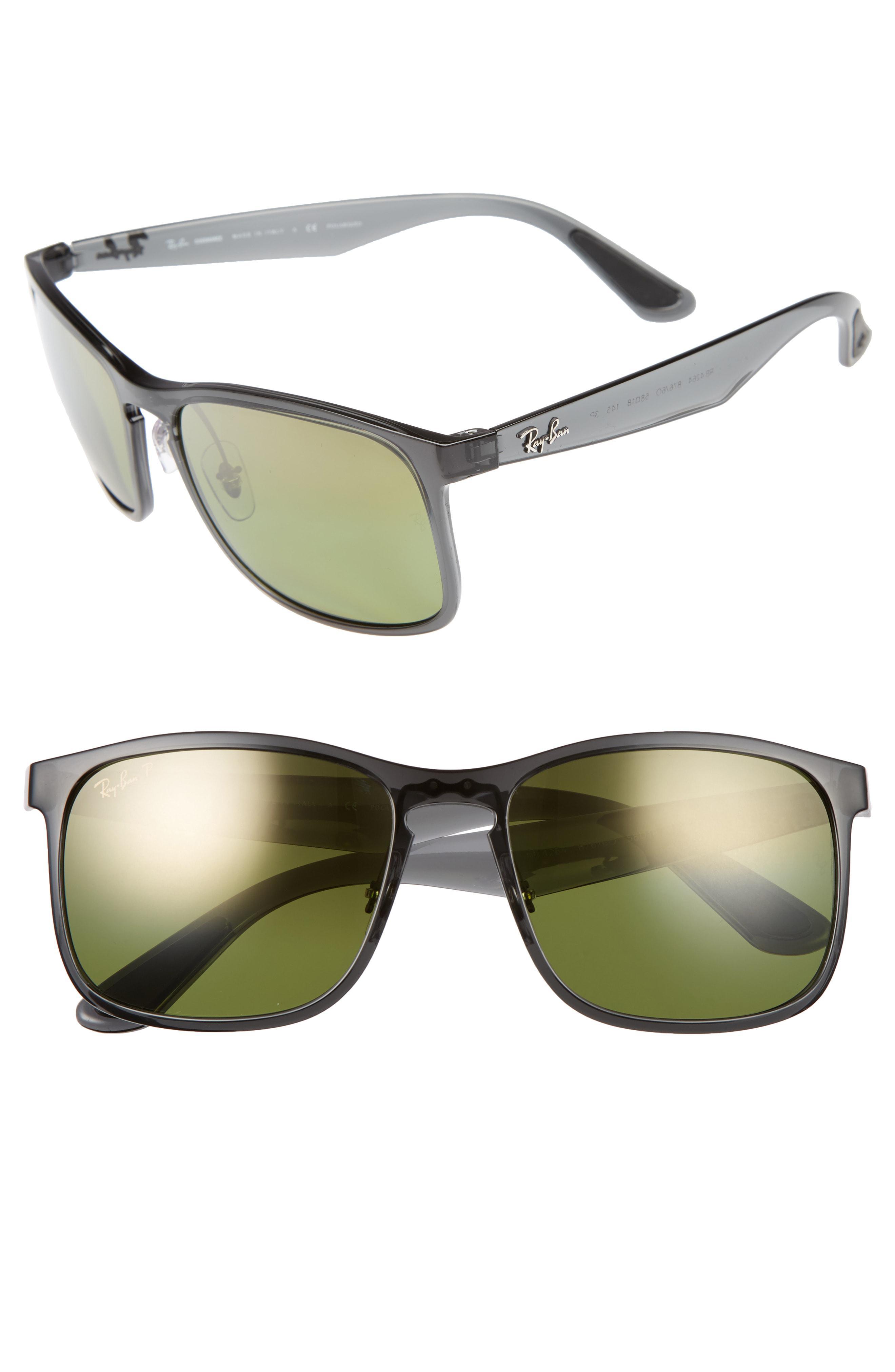 09a216506ea Ray-Ban 58mm Chromance Sunglasses - Shiny Grey green Mirror Gold in ...