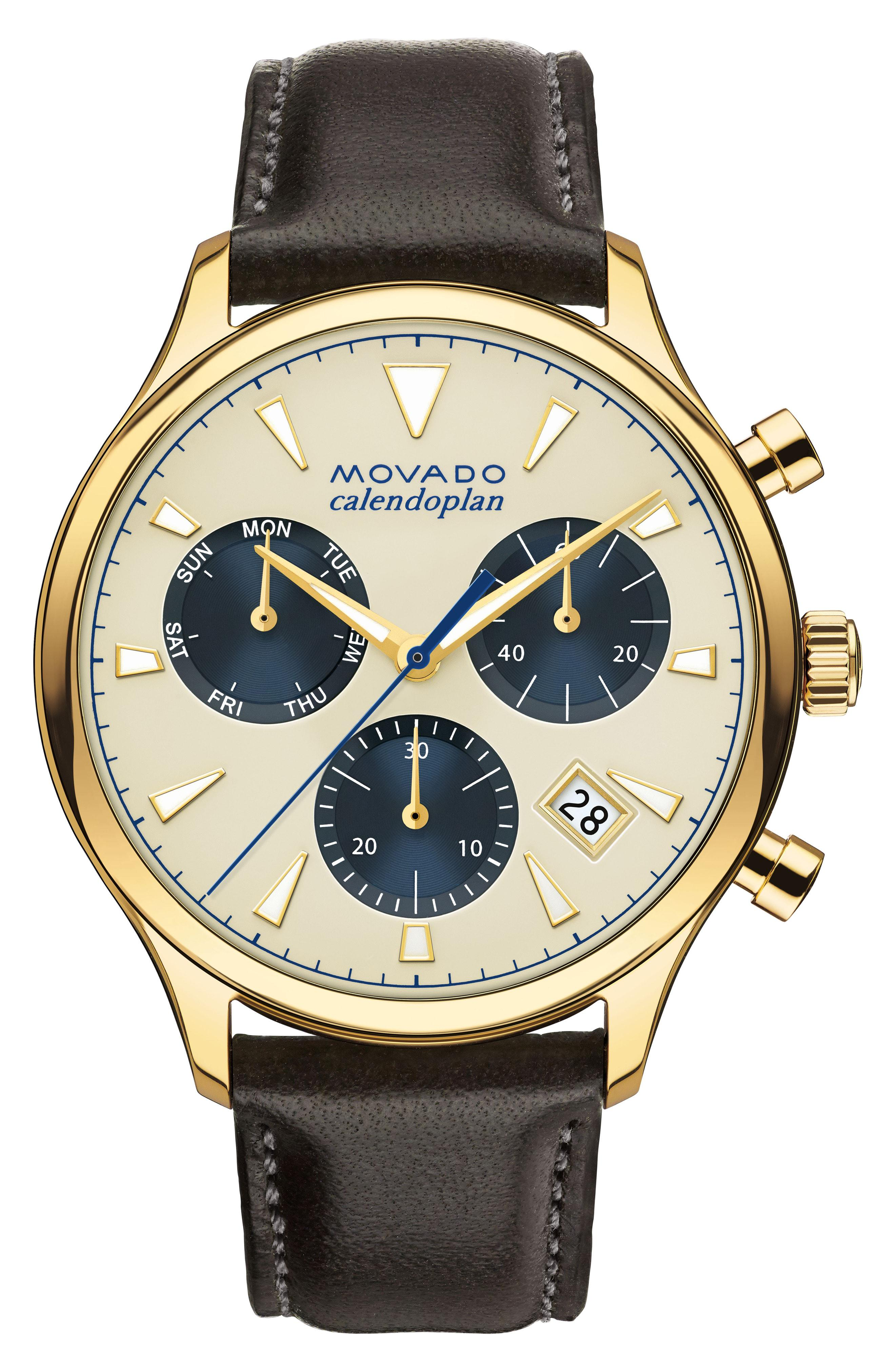 28d087473 Lyst - Movado 'heritage' Chronograph Leather Strap Watch in Natural